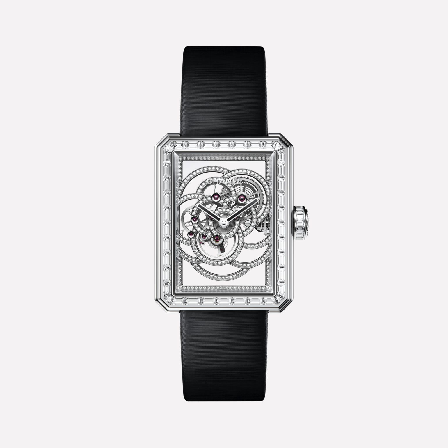 Première Camélia Skeleton Watch White gold, case, bezel, skeleton and crown set with baguette-cut diamonds
