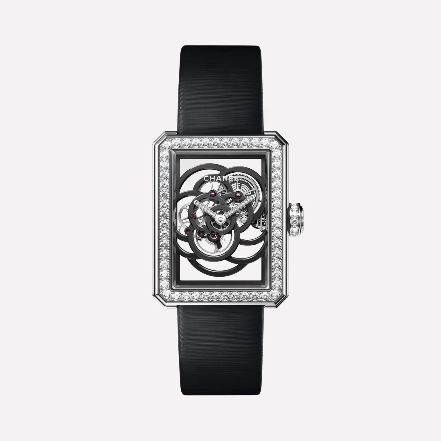 Première Camélia Skeleton White gold, case, bezel, hands and crown set with brilliant cut diamonds