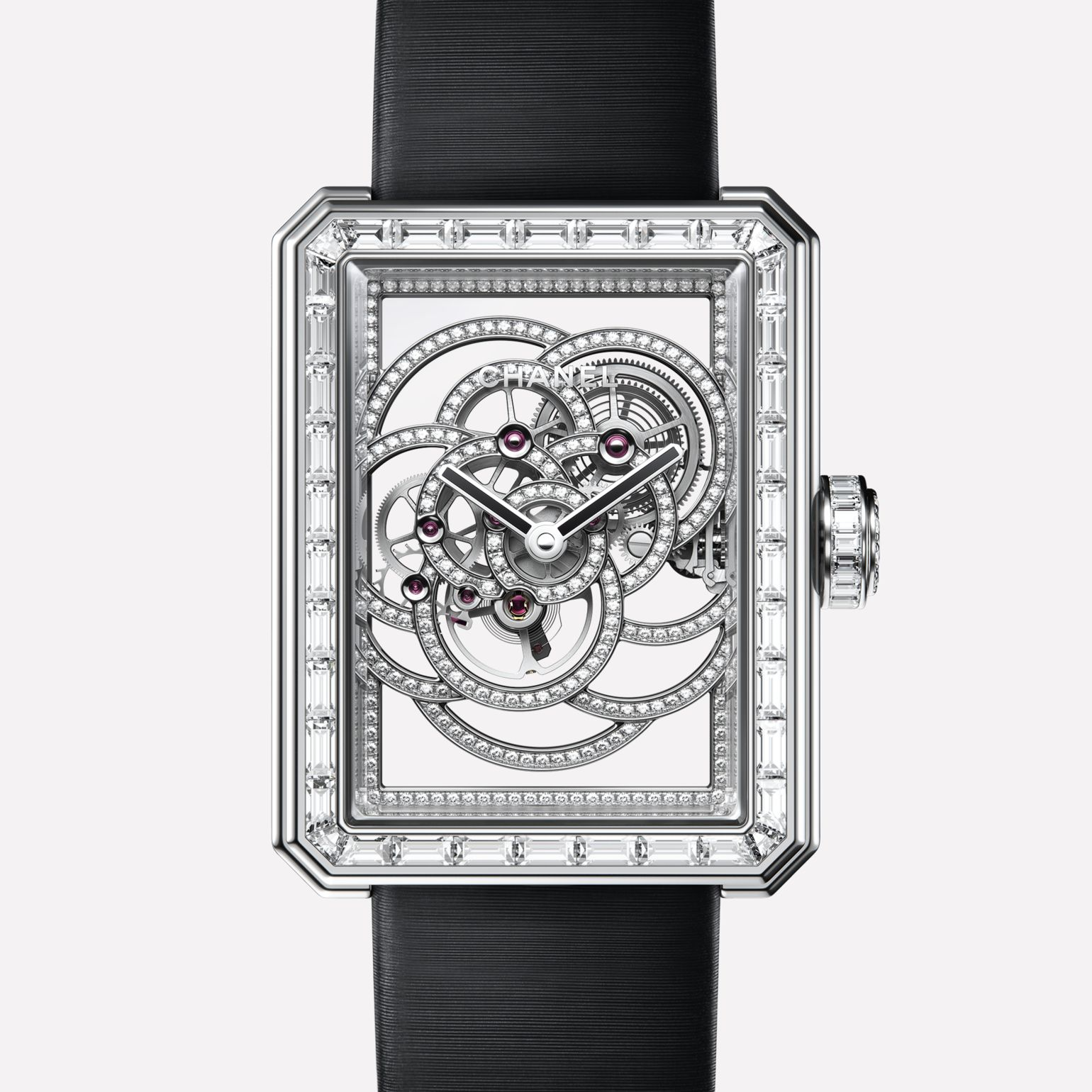 Première Camélia Skeleton White gold, case, bezel, skeleton and crown set with baguette cut diamonds