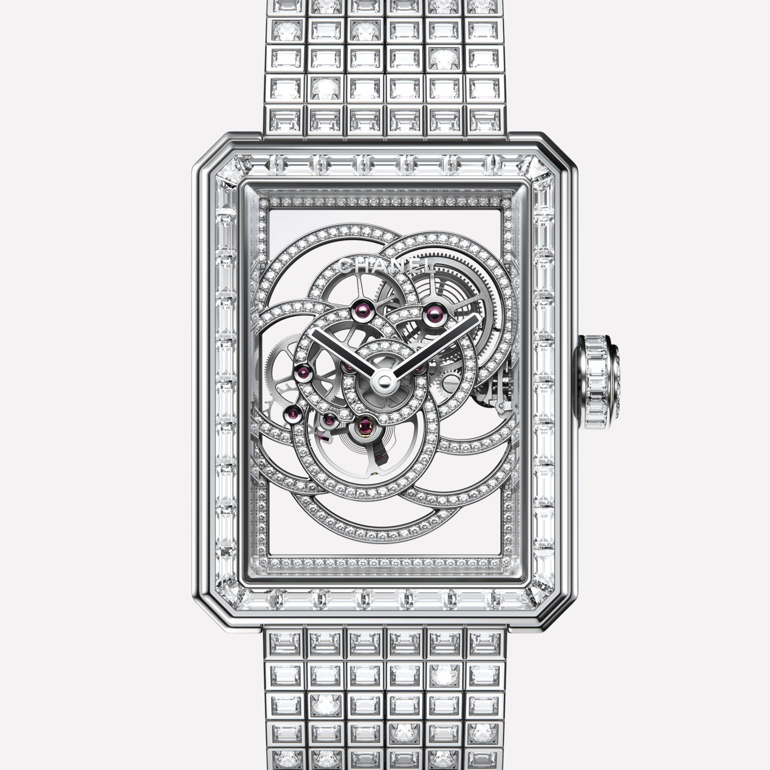 Première Camélia Skeleton White gold, case, bezel, hands, skeleton, crown and bracelet set with diamonds