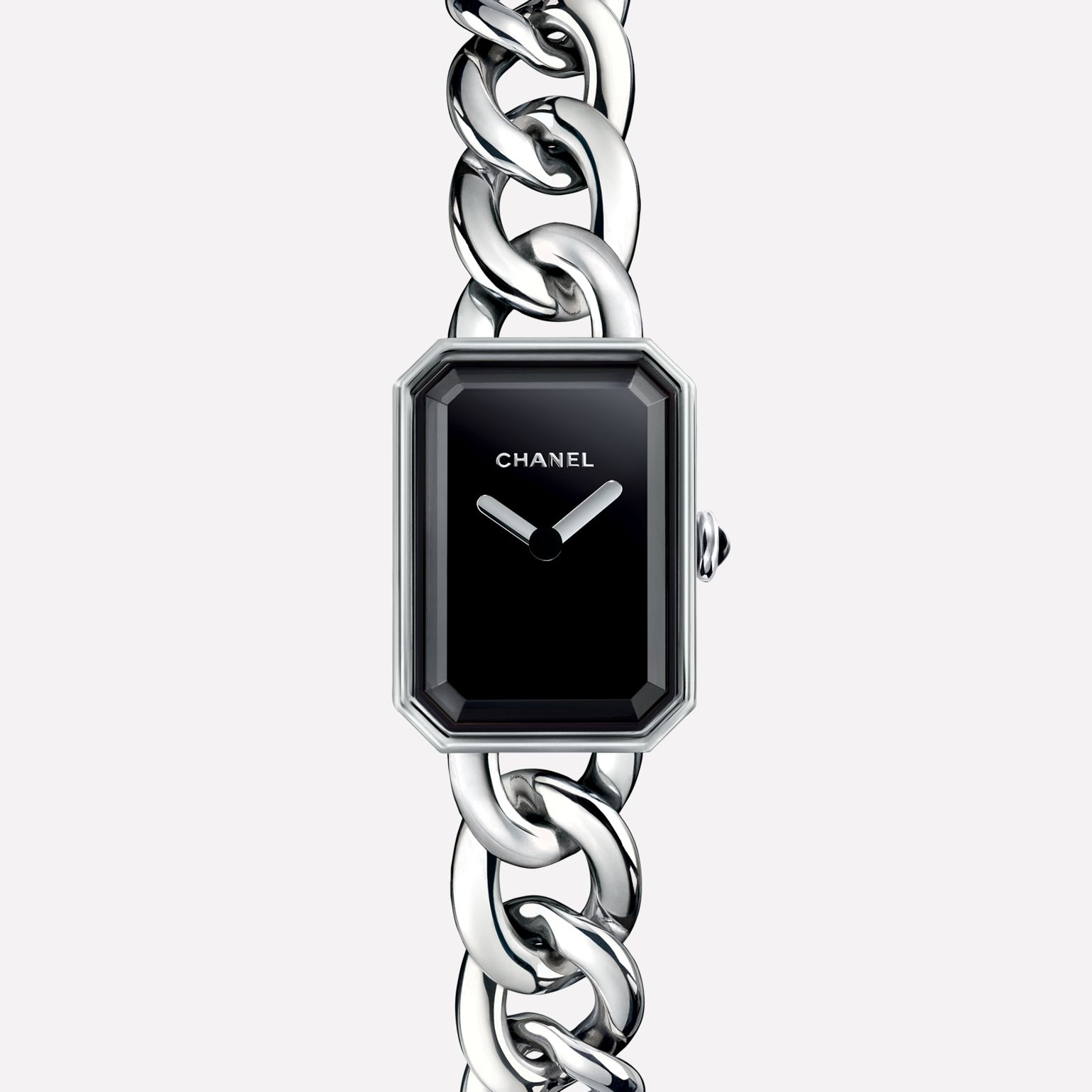 Première Chain Watch Small version, steel, black-lacquered dial