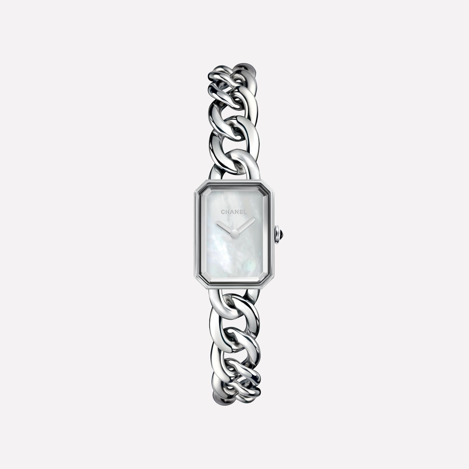 Première Chain Watch Small version, steel, white mother-of-pearl dial