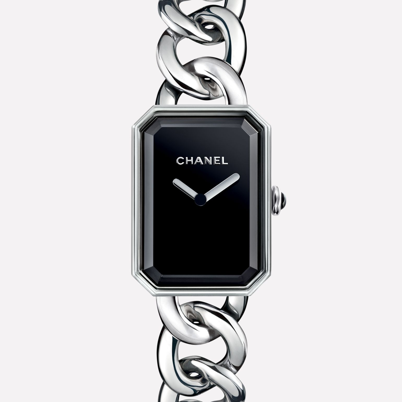 Première Chain Watch Large version, steel, black-lacquered dial