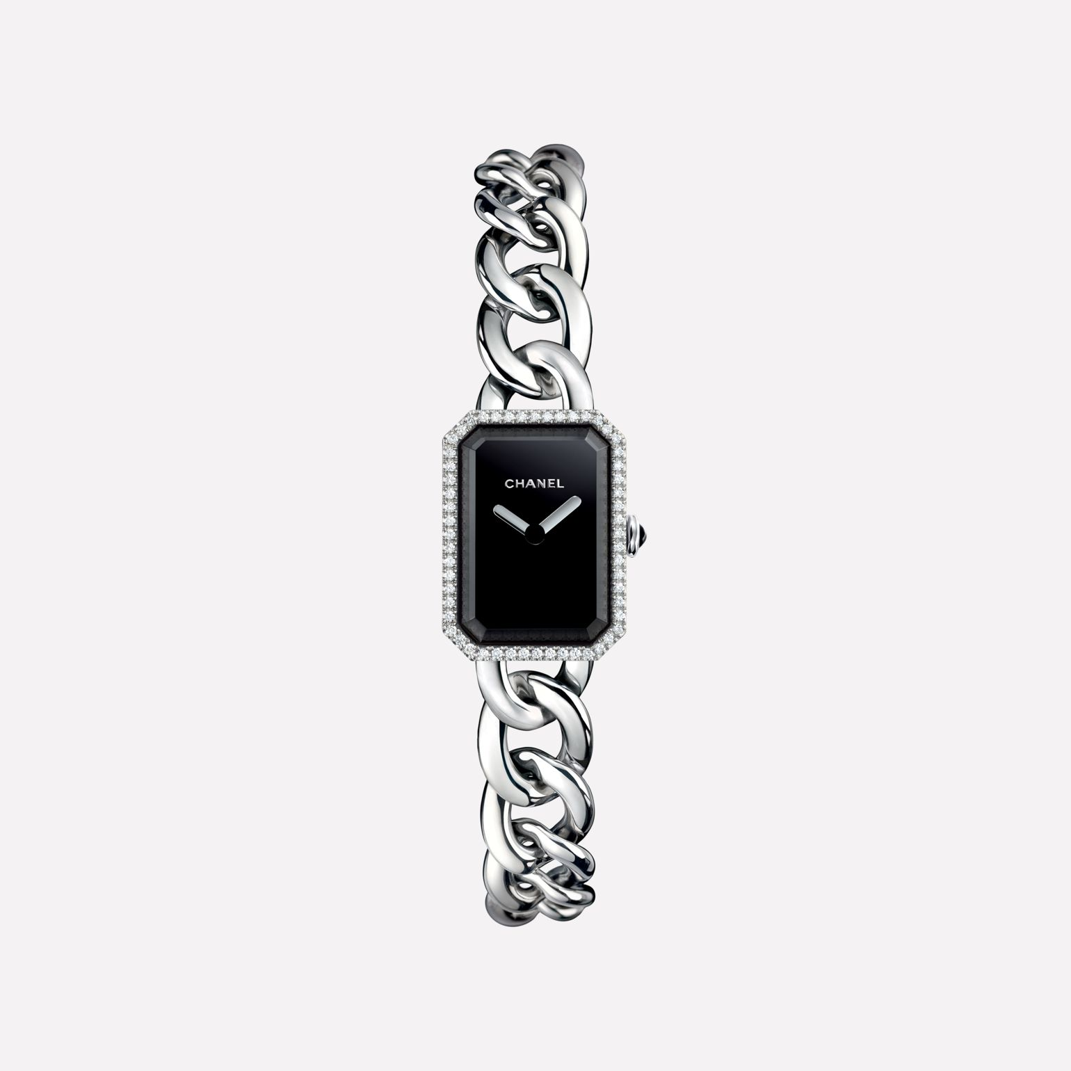 Première Chain Watch Small version, steel and diamonds, black-lacquered dial