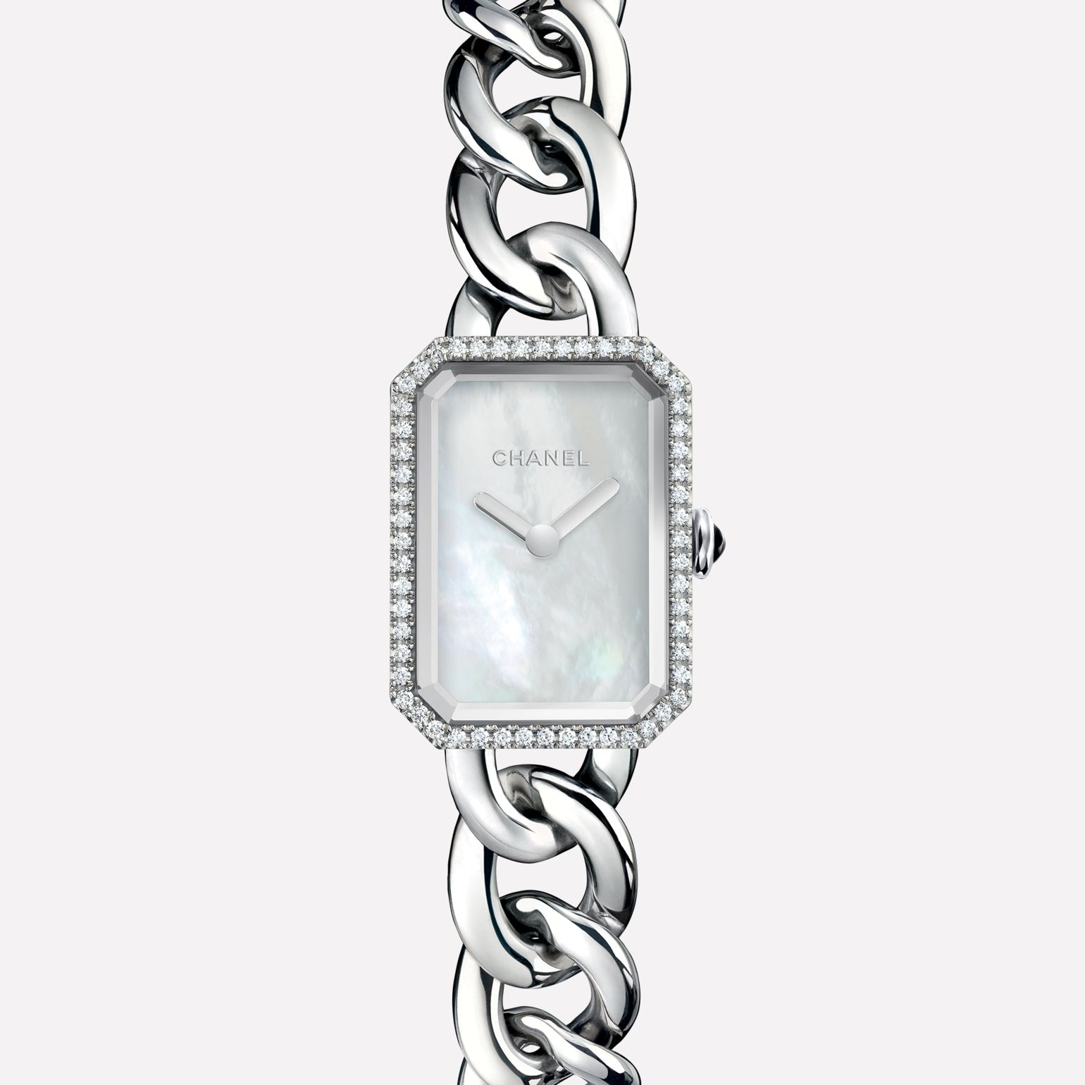 Première Chain Watch Small version, steel and diamonds, white mother-of-pearl dial