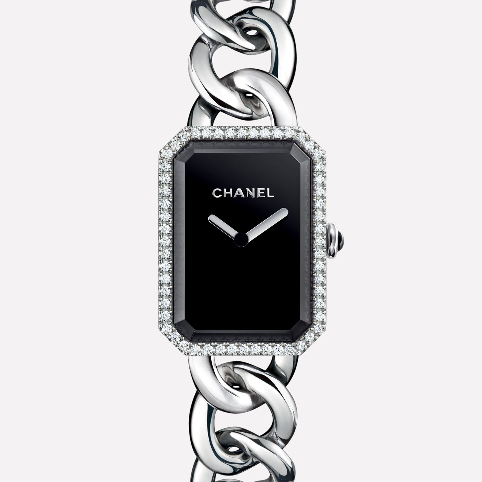 Première Chain Watch Large version, steel and diamonds, black-lacquered dial