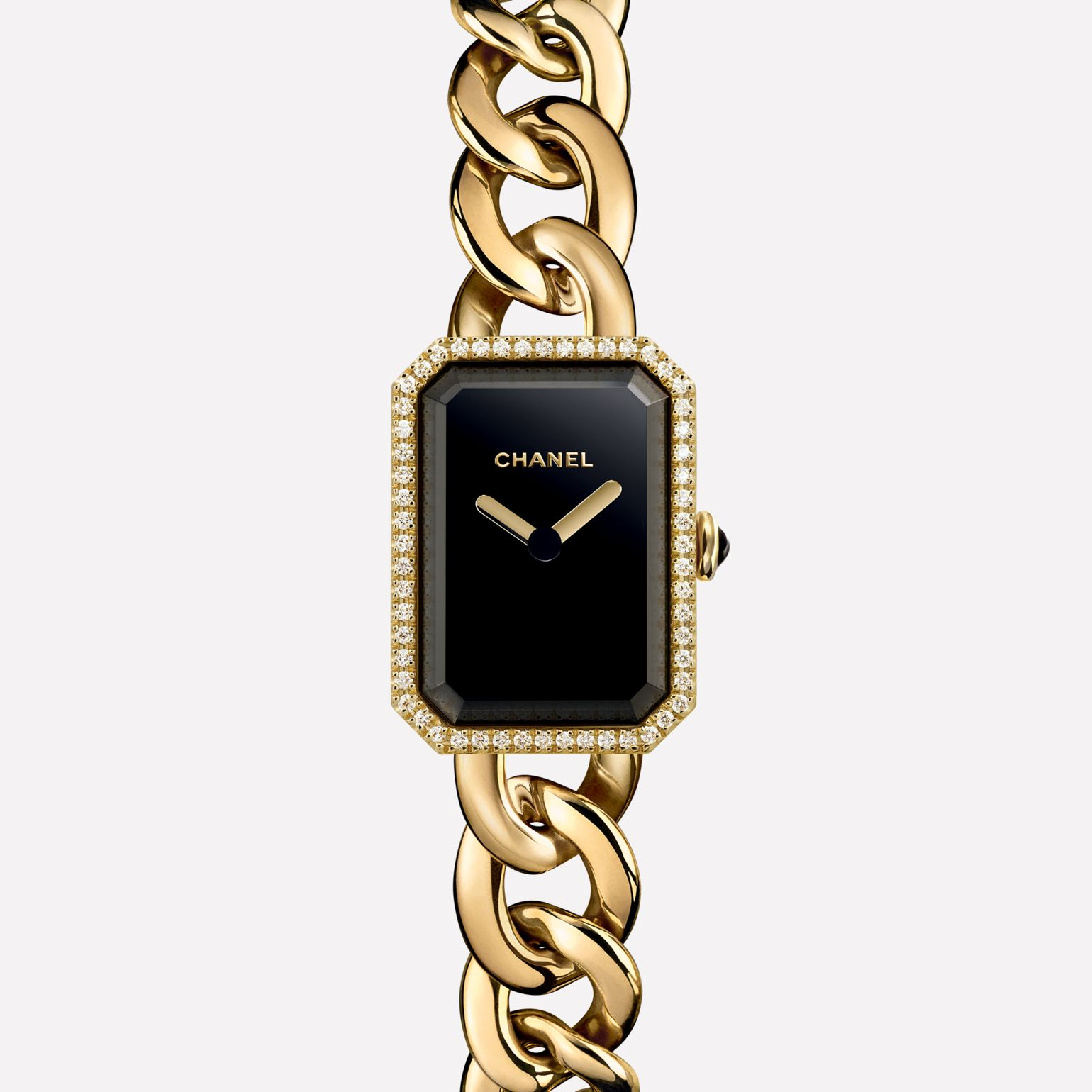 Première Chain Watch Small version, yellow gold and diamonds, black-lacquered dial