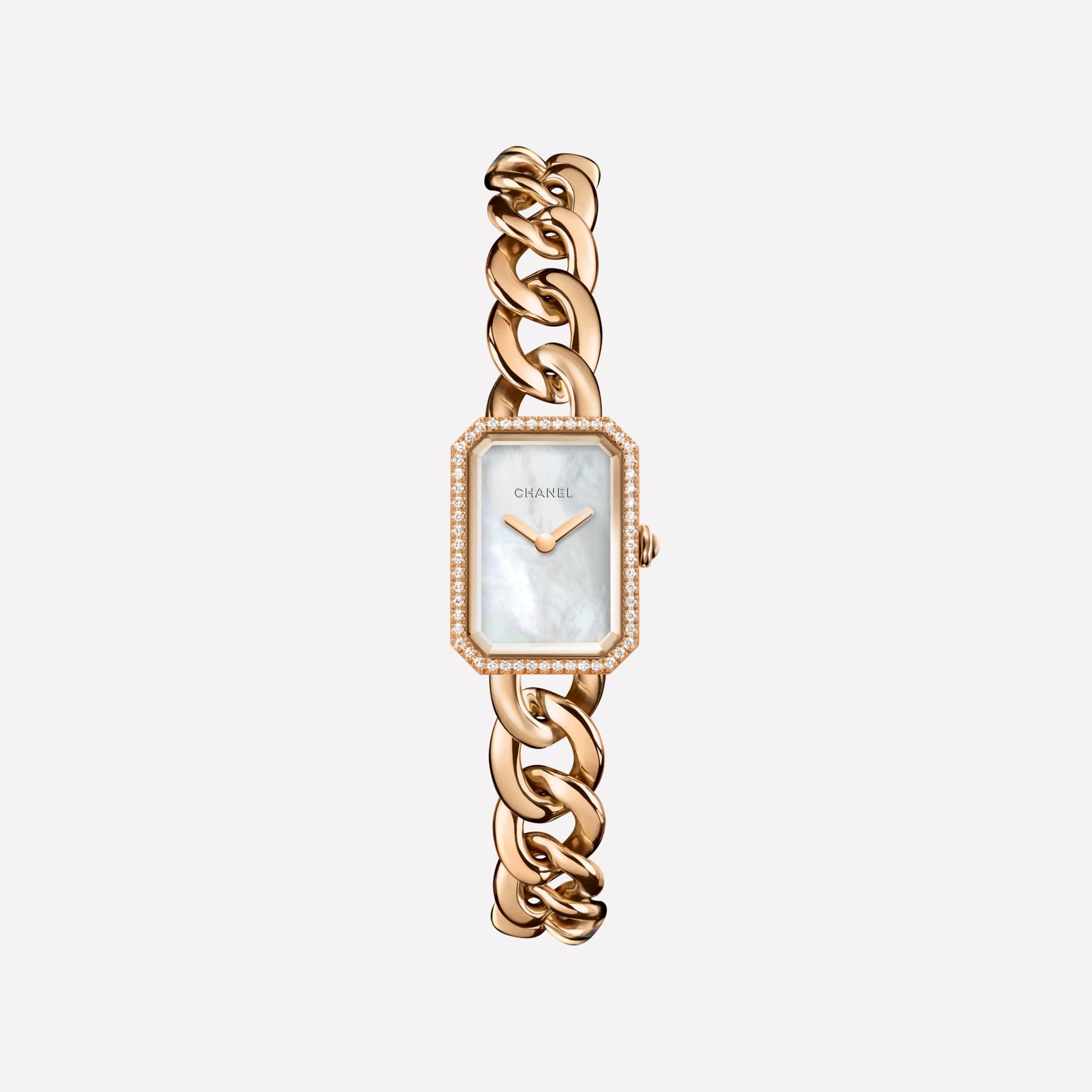 Première Chain Watch Small version, BEIGE GOLD and diamonds, white mother-of-pearl dial