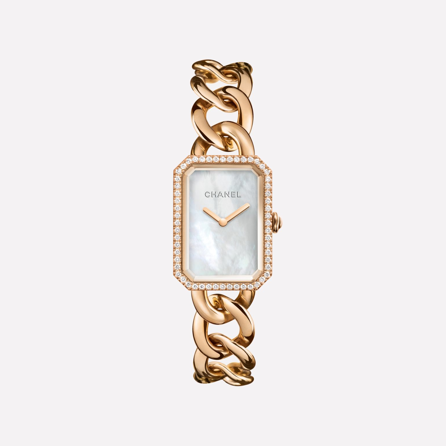 Première Chain Watch Large version, BEIGE GOLD and diamonds, white mother-of-pearl dial
