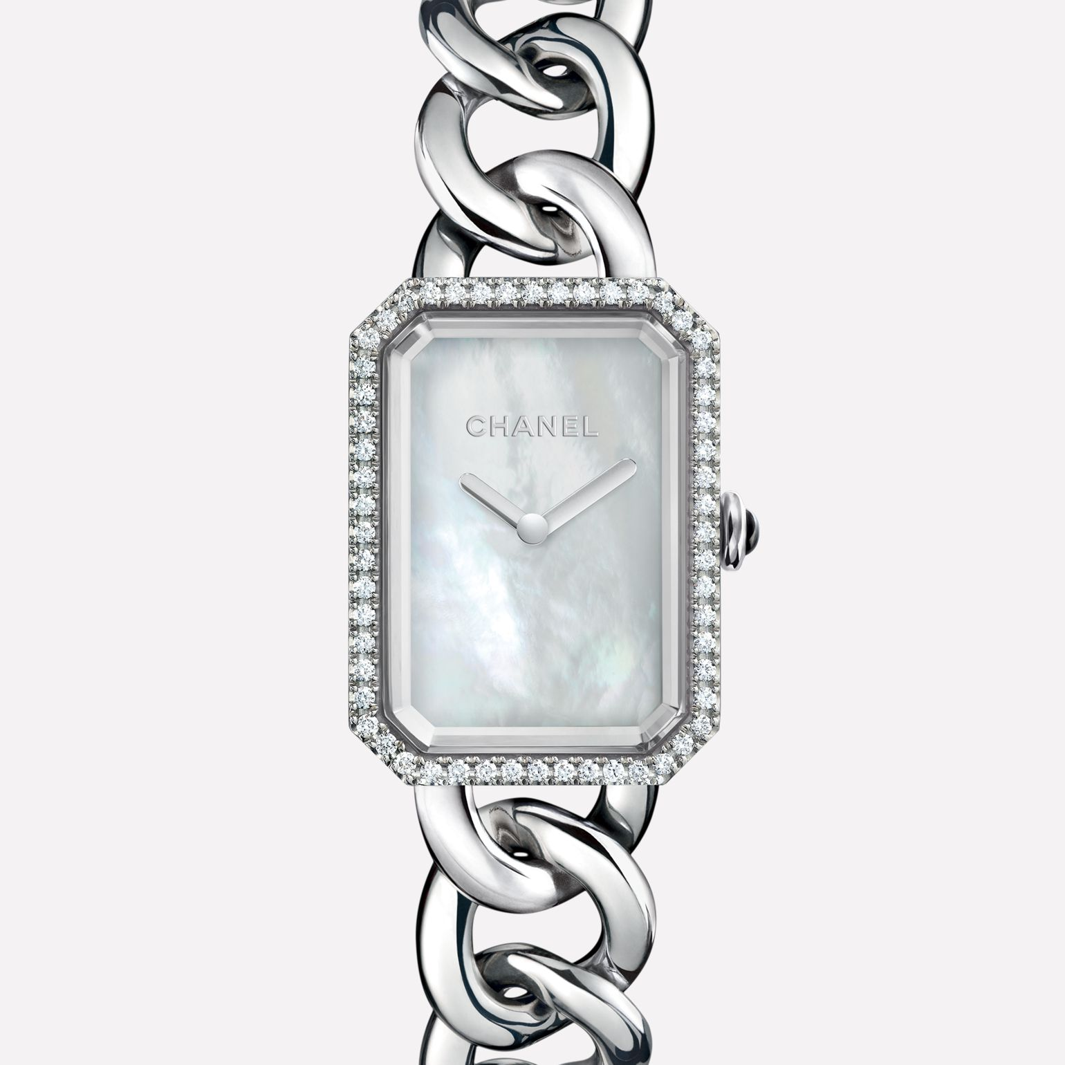Première Chaîne Watch Large version, steel and diamonds, white mother-of-pearl dial