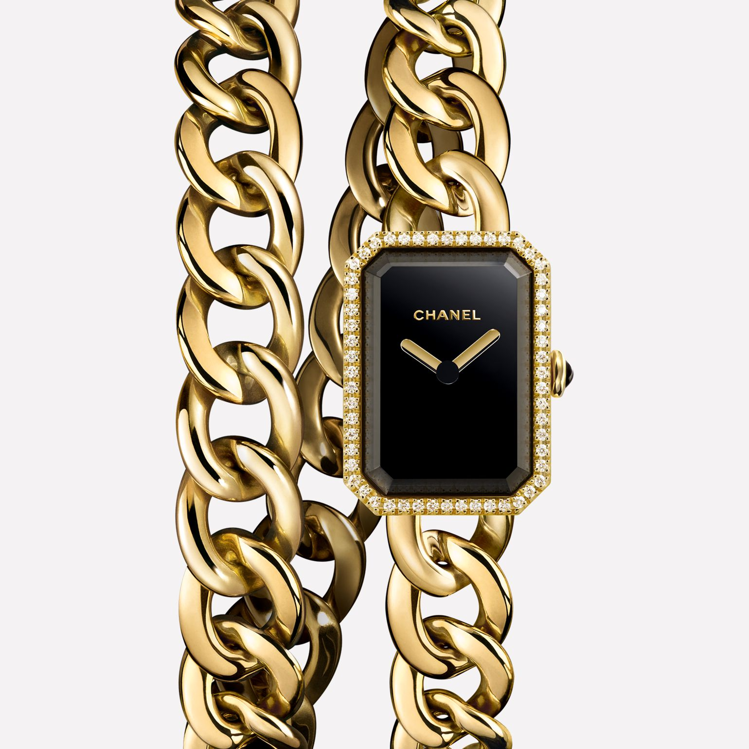 Première Chaîne Watch Yellow gold double row, diamonds, black dial