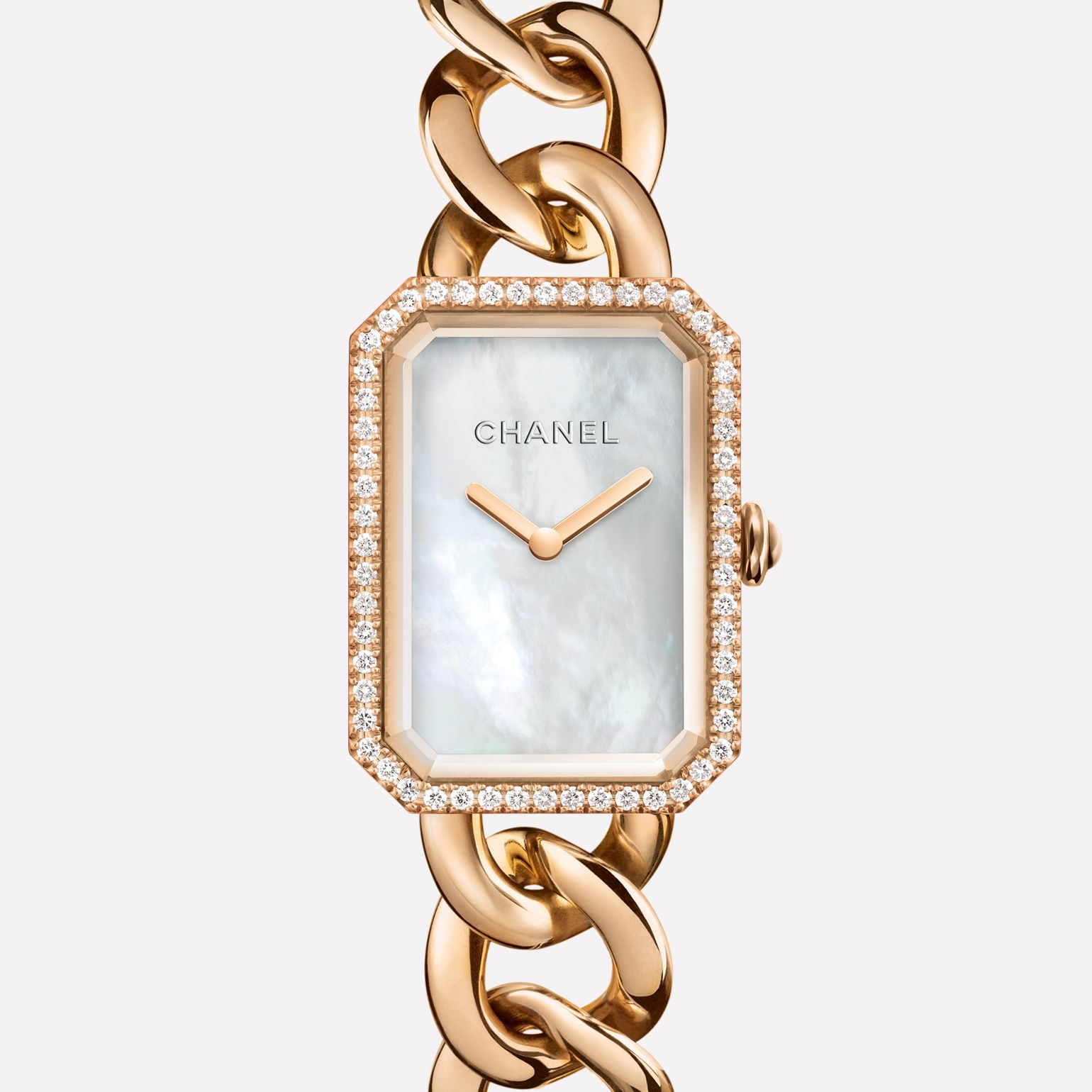 Première Chaîne Watch Large version, BEIGE GOLD and diamonds, white mother-of-pearl dial