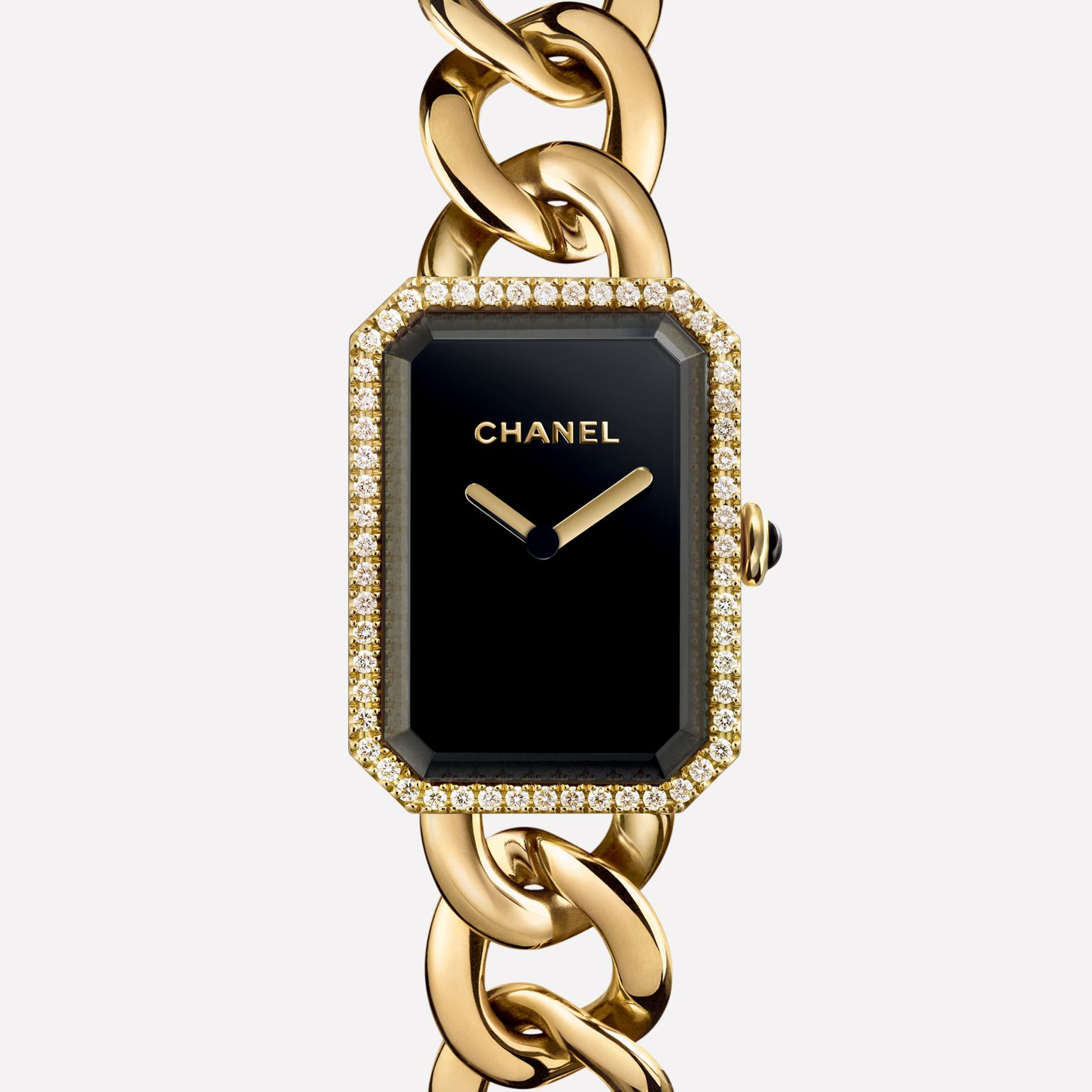 Première Chaîne Large version, yellow gold and diamonds, black dial