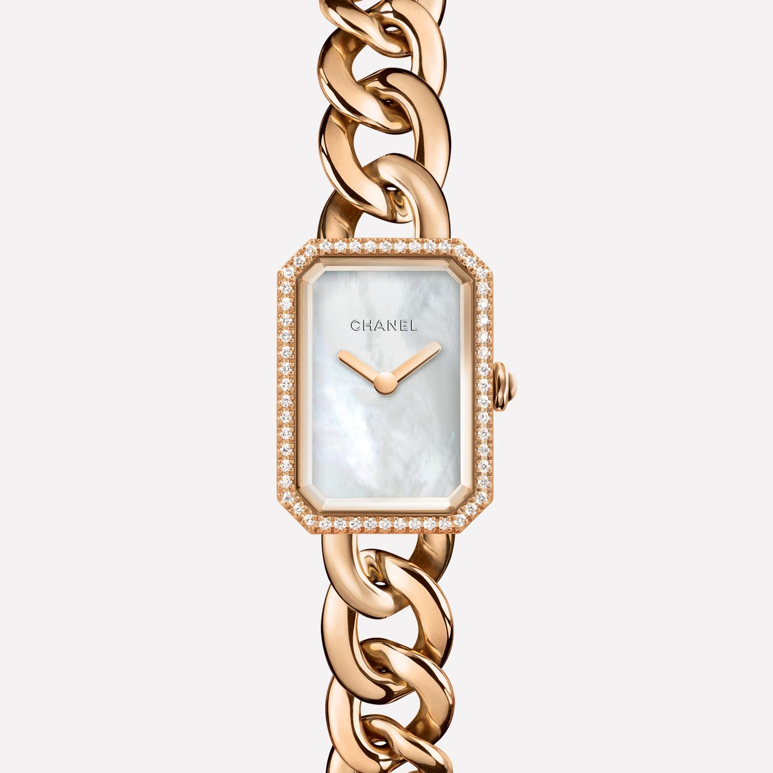 Première Chaîne Small version, BEIGE GOLD and diamonds, white mother-of-pearl dial
