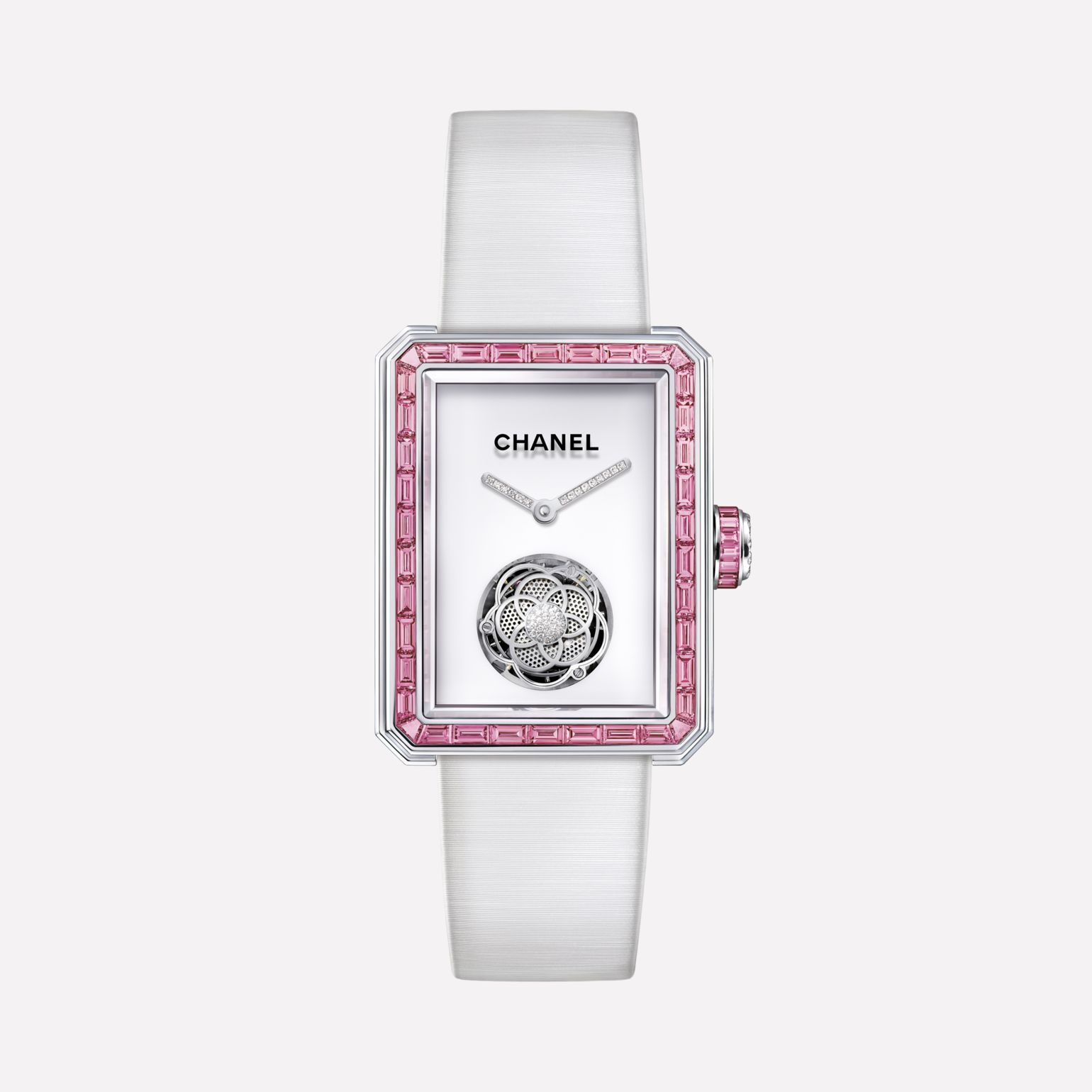 Première Flying Tourbillon Watch White gold, case and bezel set with baguette-cut pink sapphires