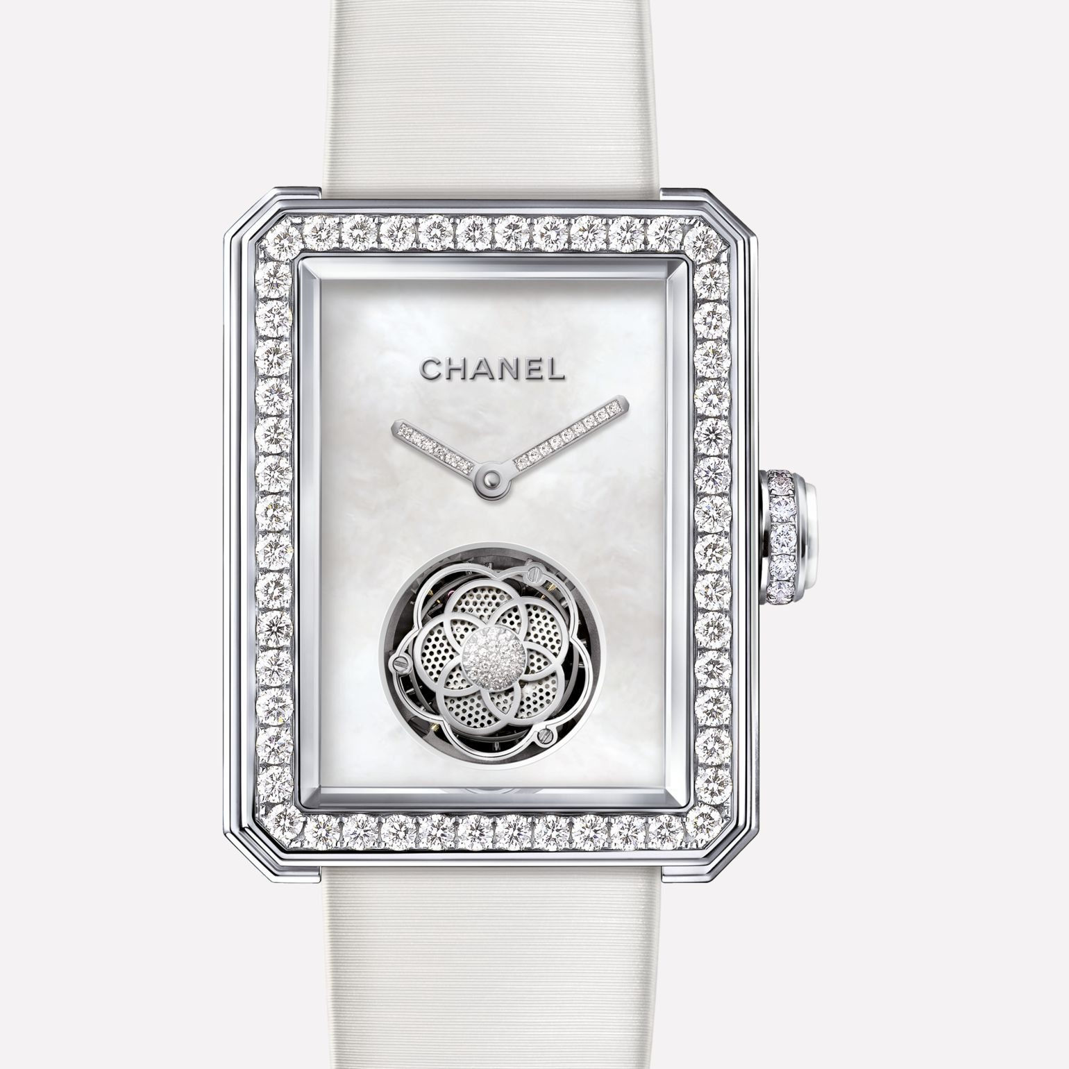 Première Flying Tourbillon Watch White gold, bezel set with brilliant-cut diamonds, mother-of-pearl dial