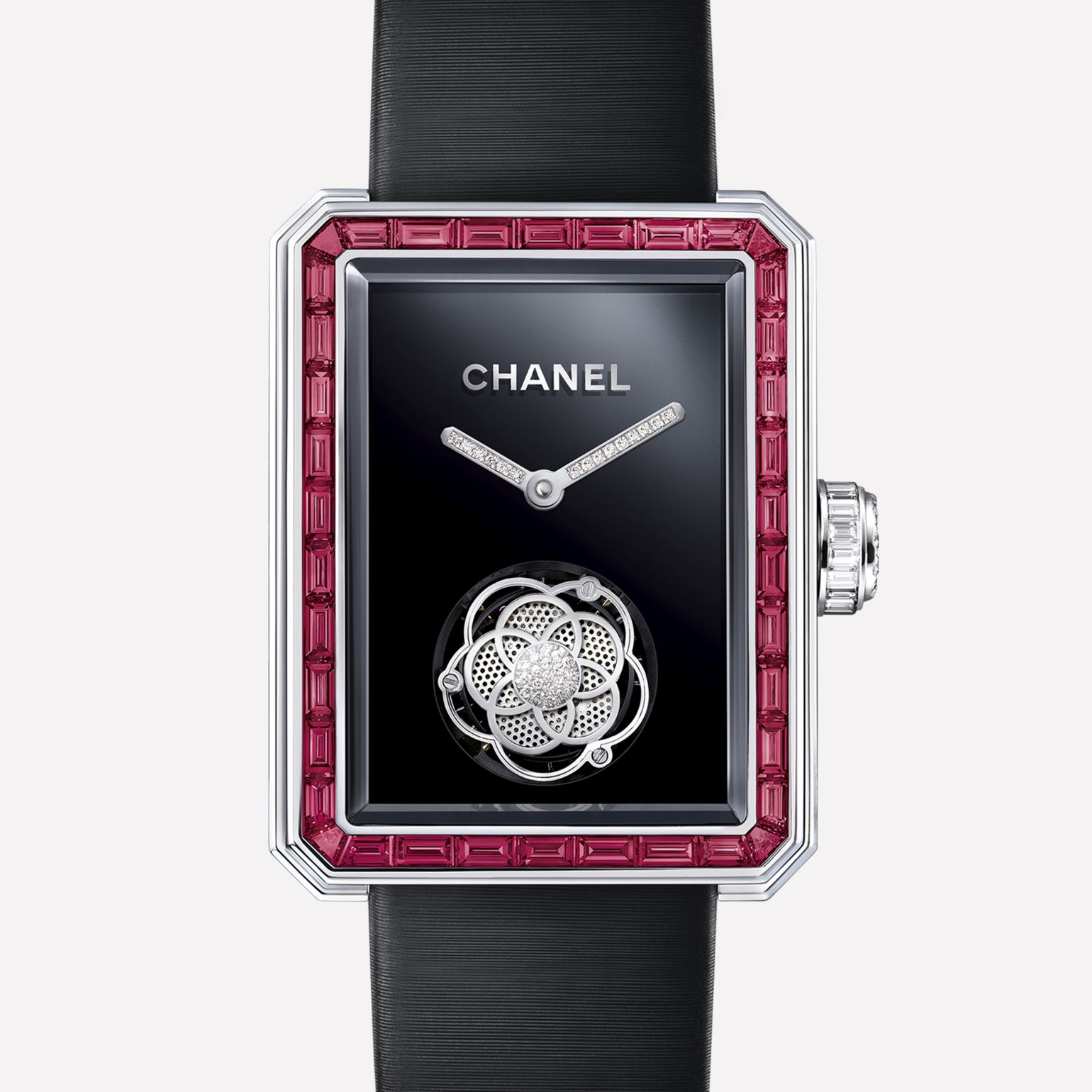 Première Flying Tourbillon Watch White gold, case and bezel set with baguette-cut rubies and diamonds