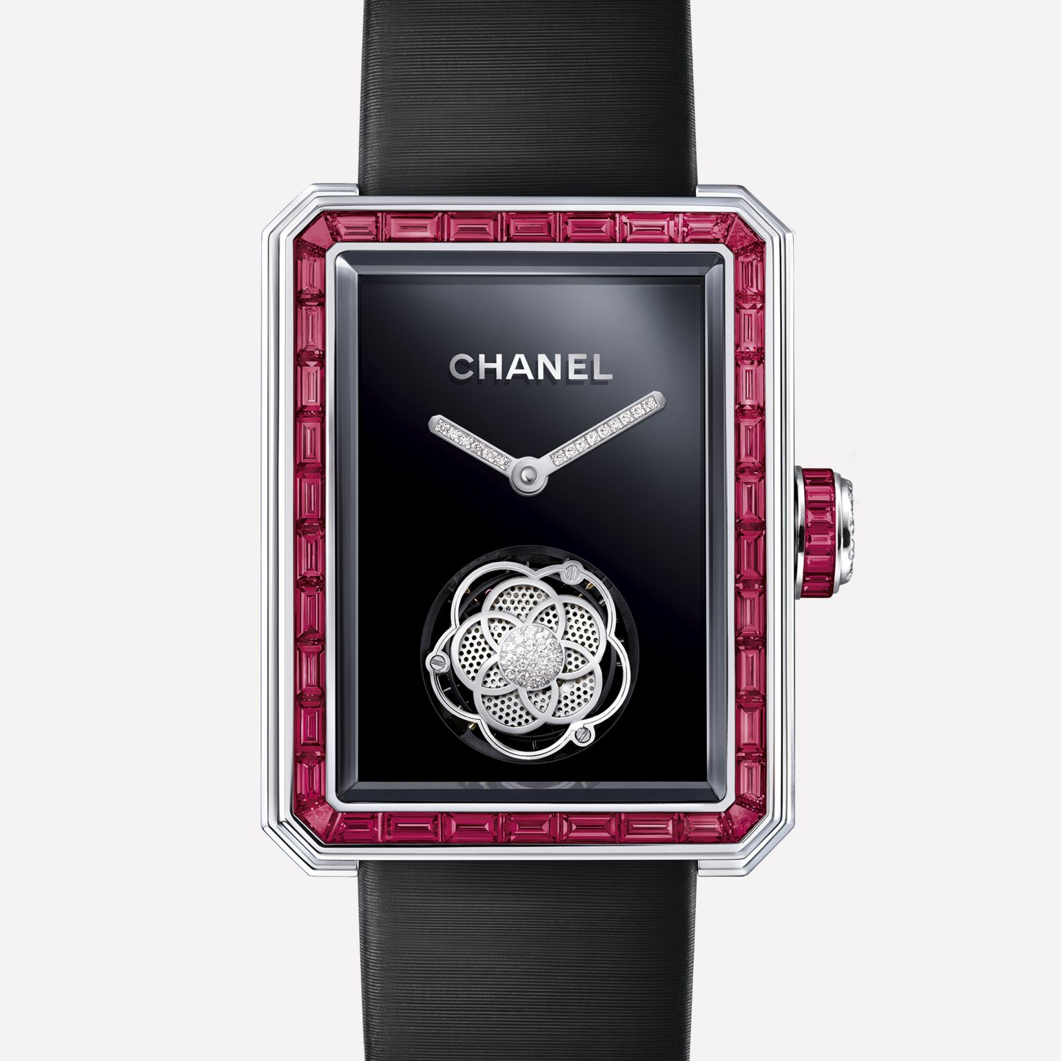 Première Flying Tourbillon White gold, case and bezel set with baguette cut rubies
