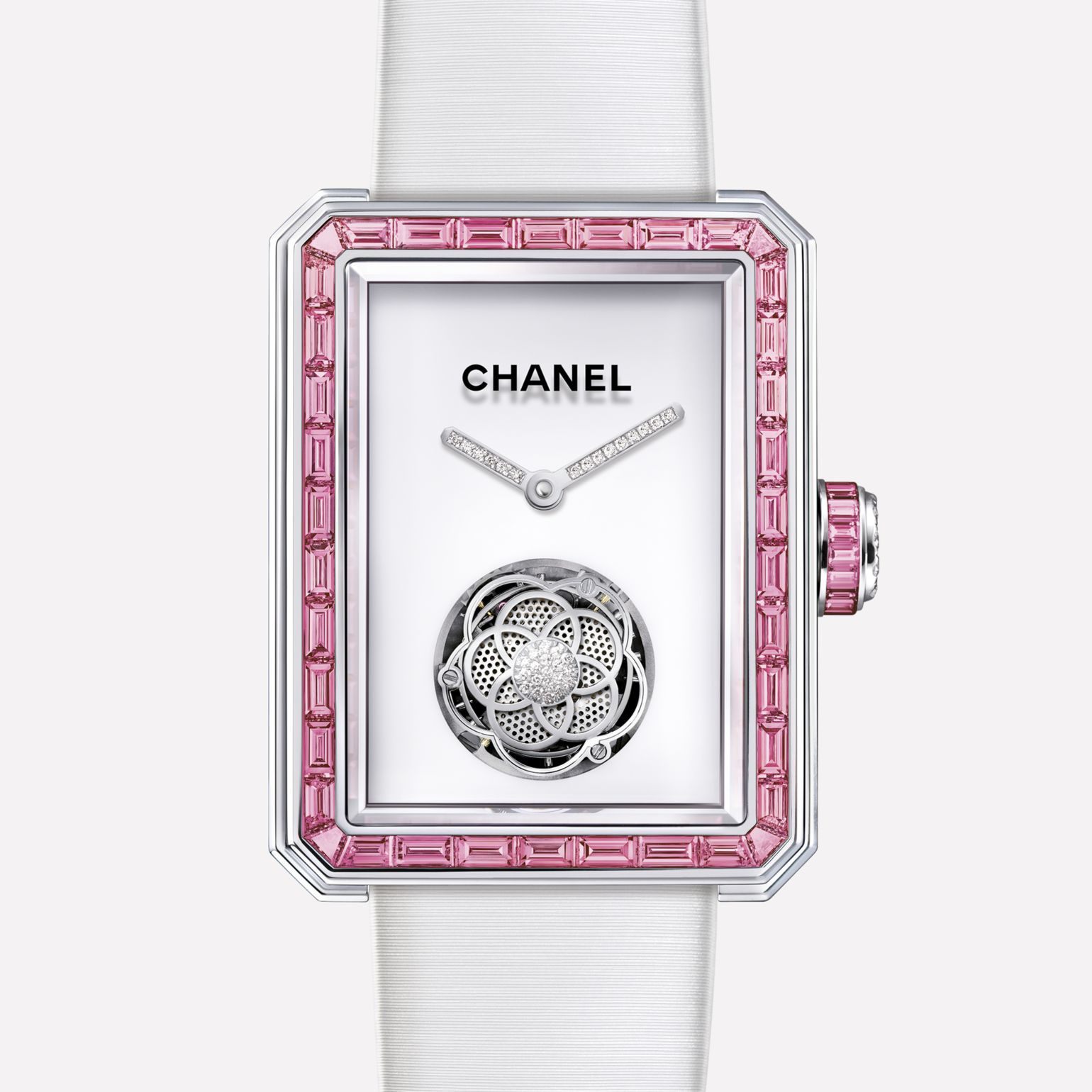 Première Flying Tourbillon White gold, case and bezel set with baguette cut pink sapphires