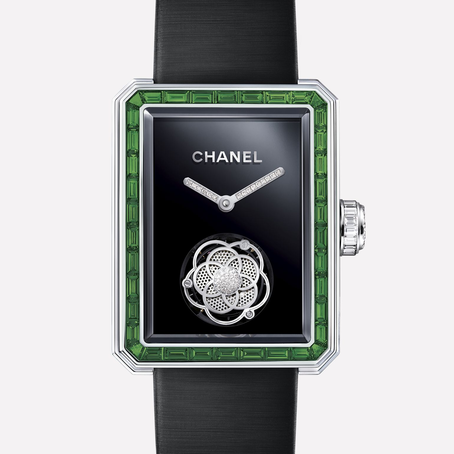Première Flying Tourbillon White gold, case and bezel set with baguette cut emeralds and diamonds