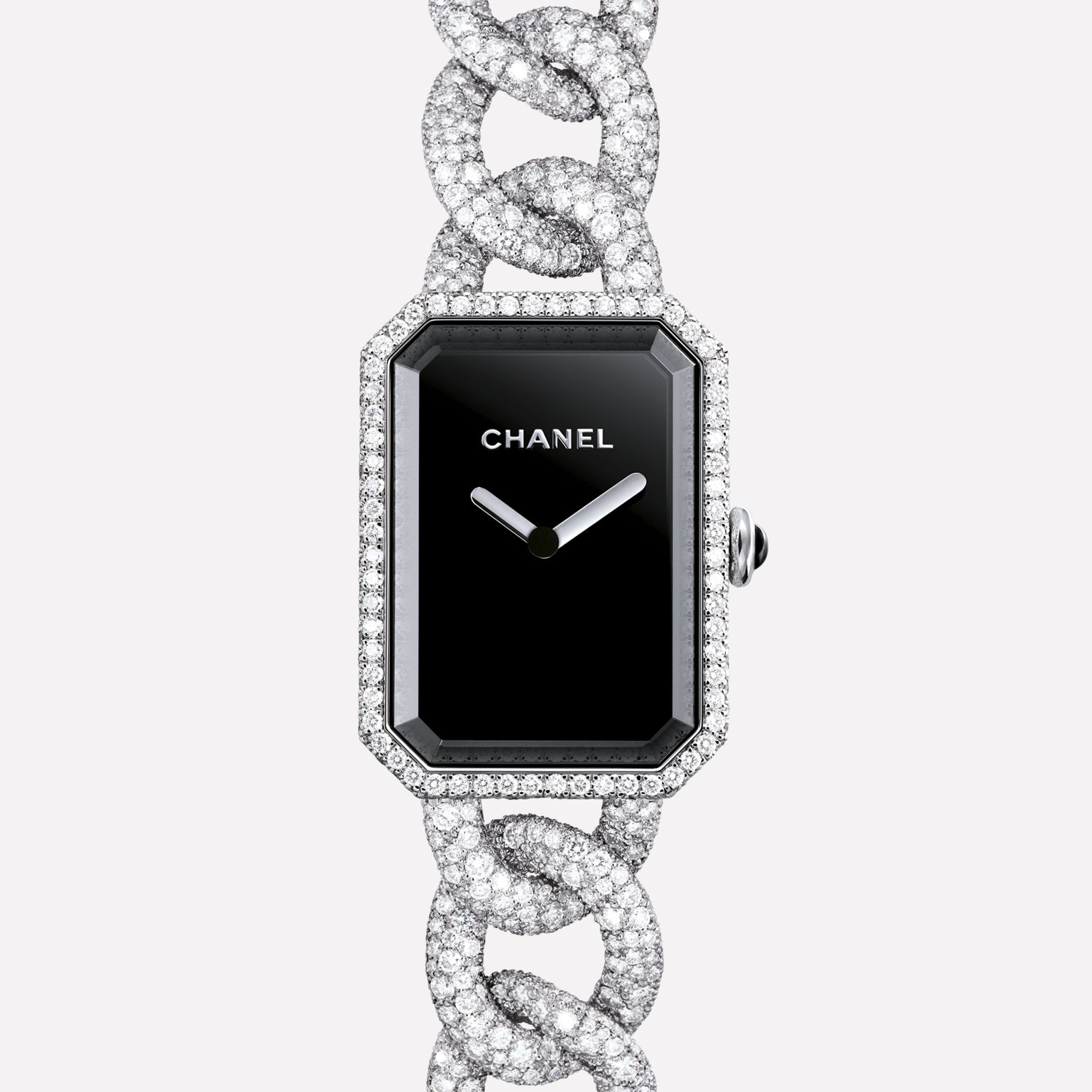 Première Jewelry Watch Large version, white gold and snow set diamonds, black dial