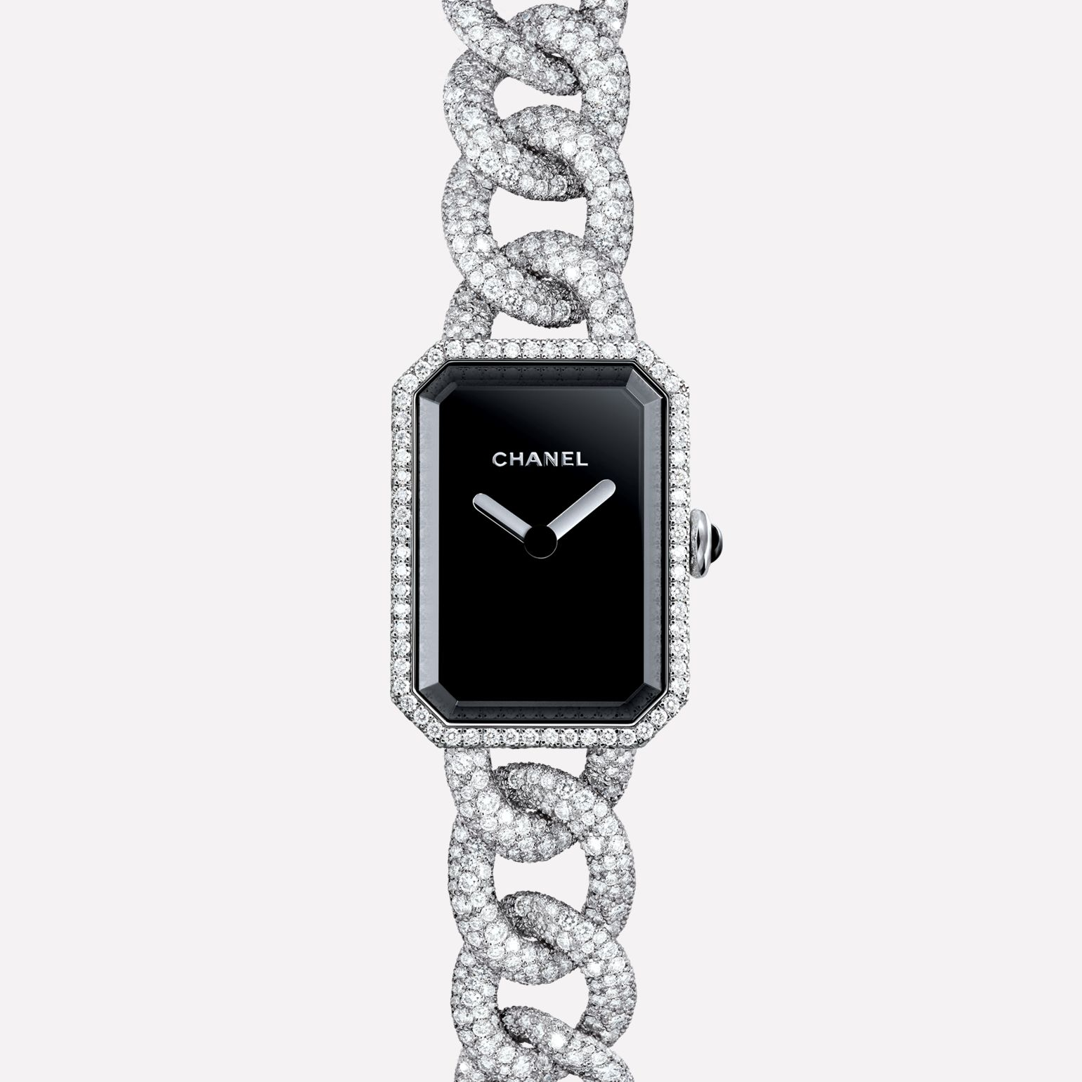 Première Jewelry Watch Small version, white gold and snow set diamonds, black dial