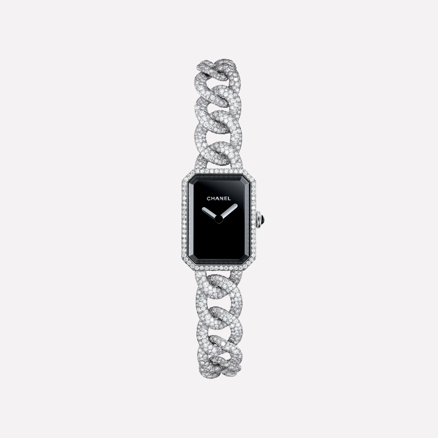 Première Jewelry Watch Small version, white gold and diamonds, black-lacquered dial