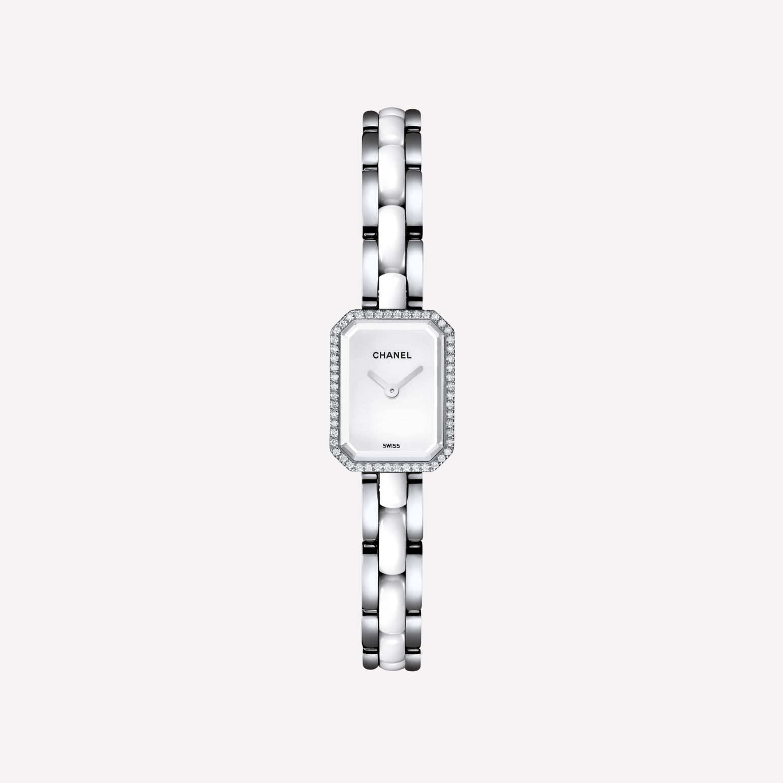 Première Mini Watch Steel and white highly-resistant ceramic, diamonds, white-lacquered dial