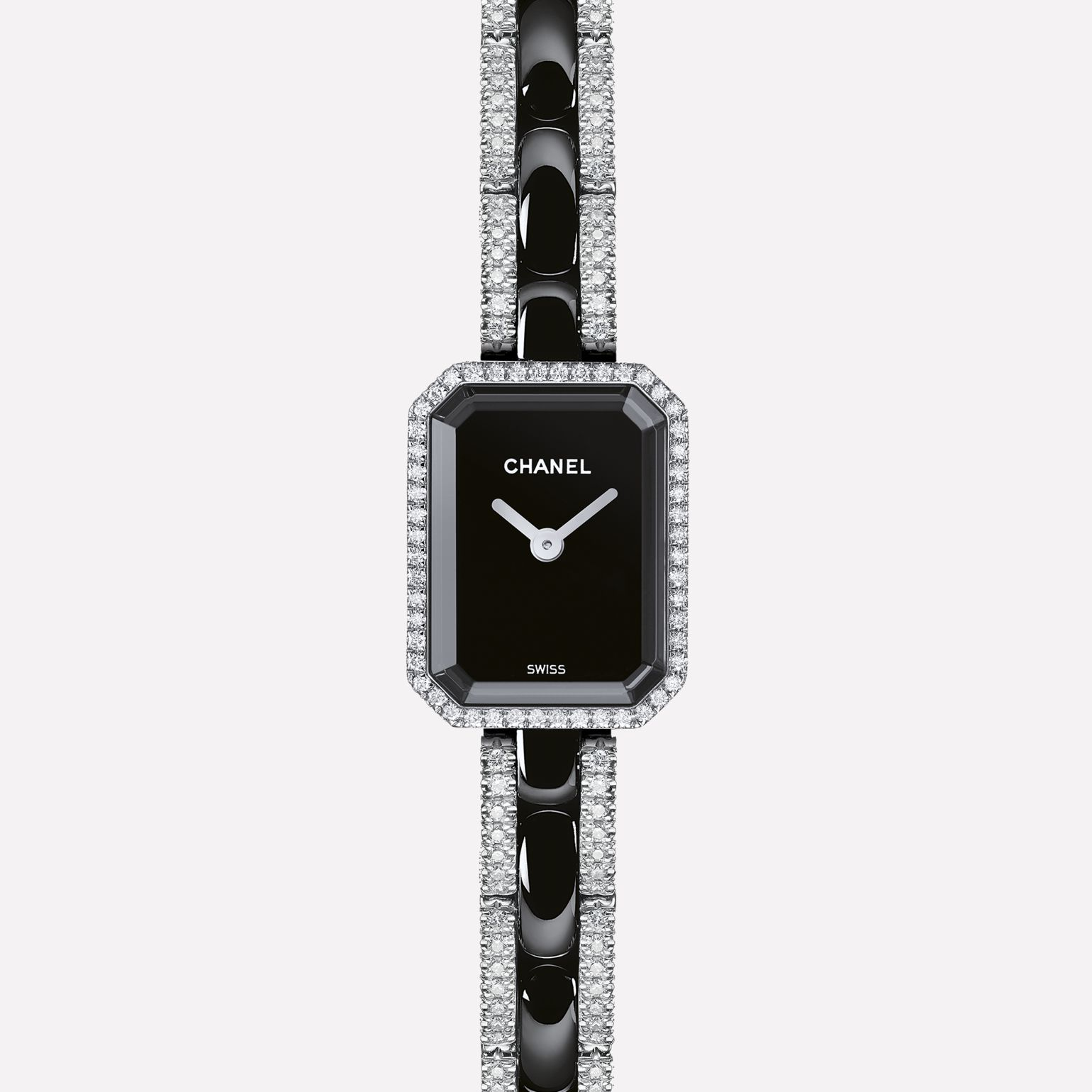 Première Mini Watch White gold and black ceramic, diamonds, black dial