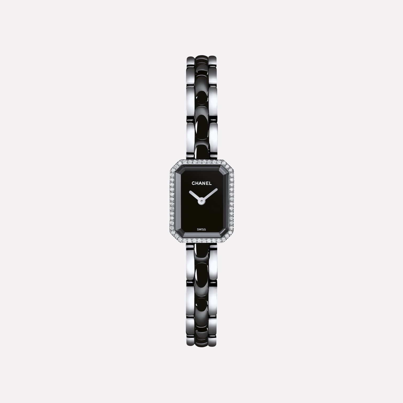 Première Mini Watch Steel and black highly-resistant ceramic, diamonds, black-lacquered dial