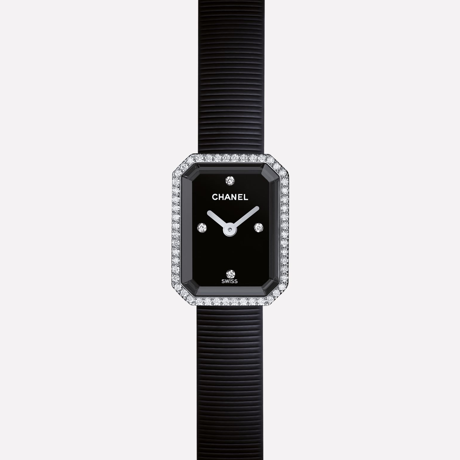 Première Mini Watch Steel and black rubber, diamonds, black dial
