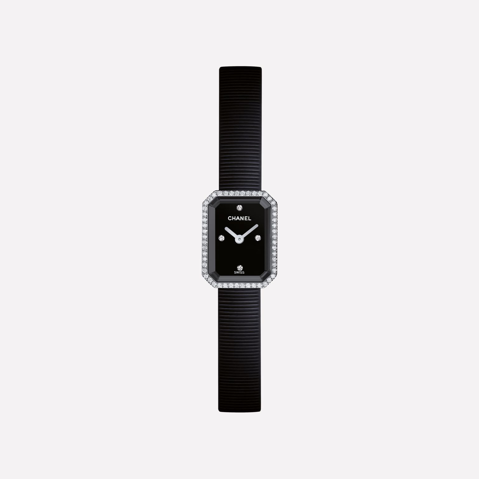 Première Mini Watch Steel and black rubber, diamonds, black-lacquered dial