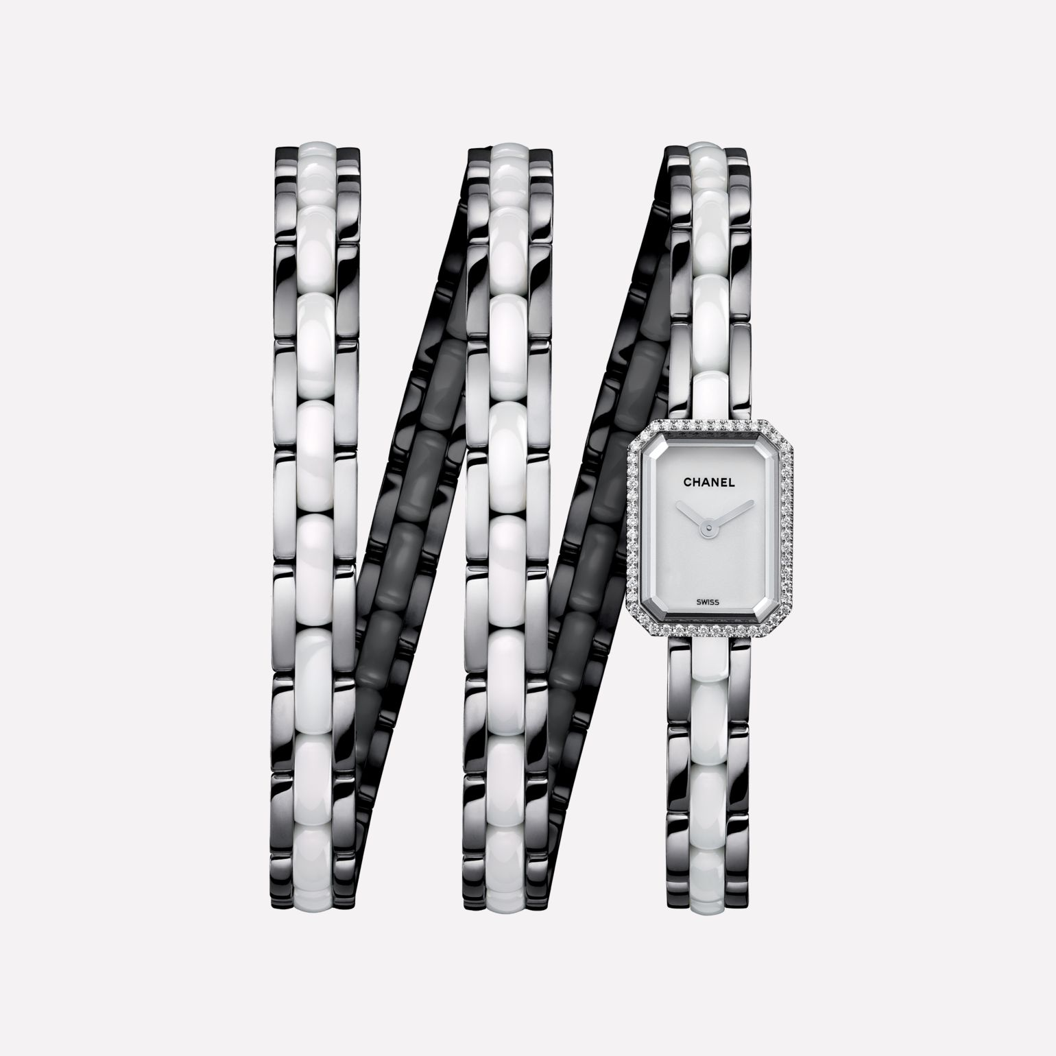 Première Mini Watch Triple row steel and white highly-resistant ceramic, diamonds, white-lacquered dial