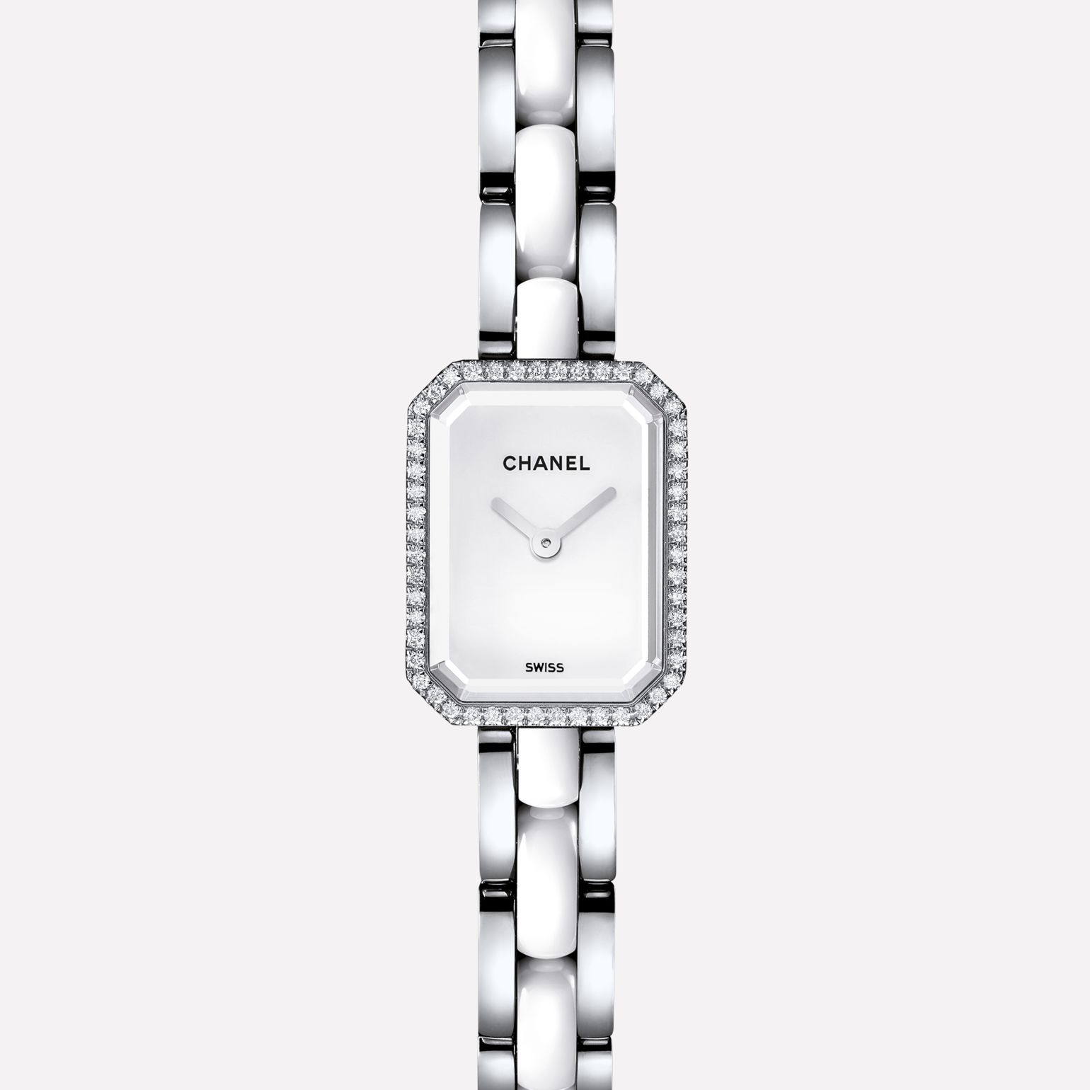 Première Mini Steel and white ceramic, diamonds, white dial