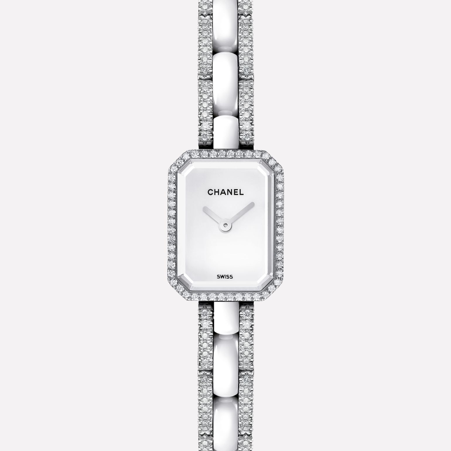 Première Mini White gold and white ceramic, diamonds, white dial