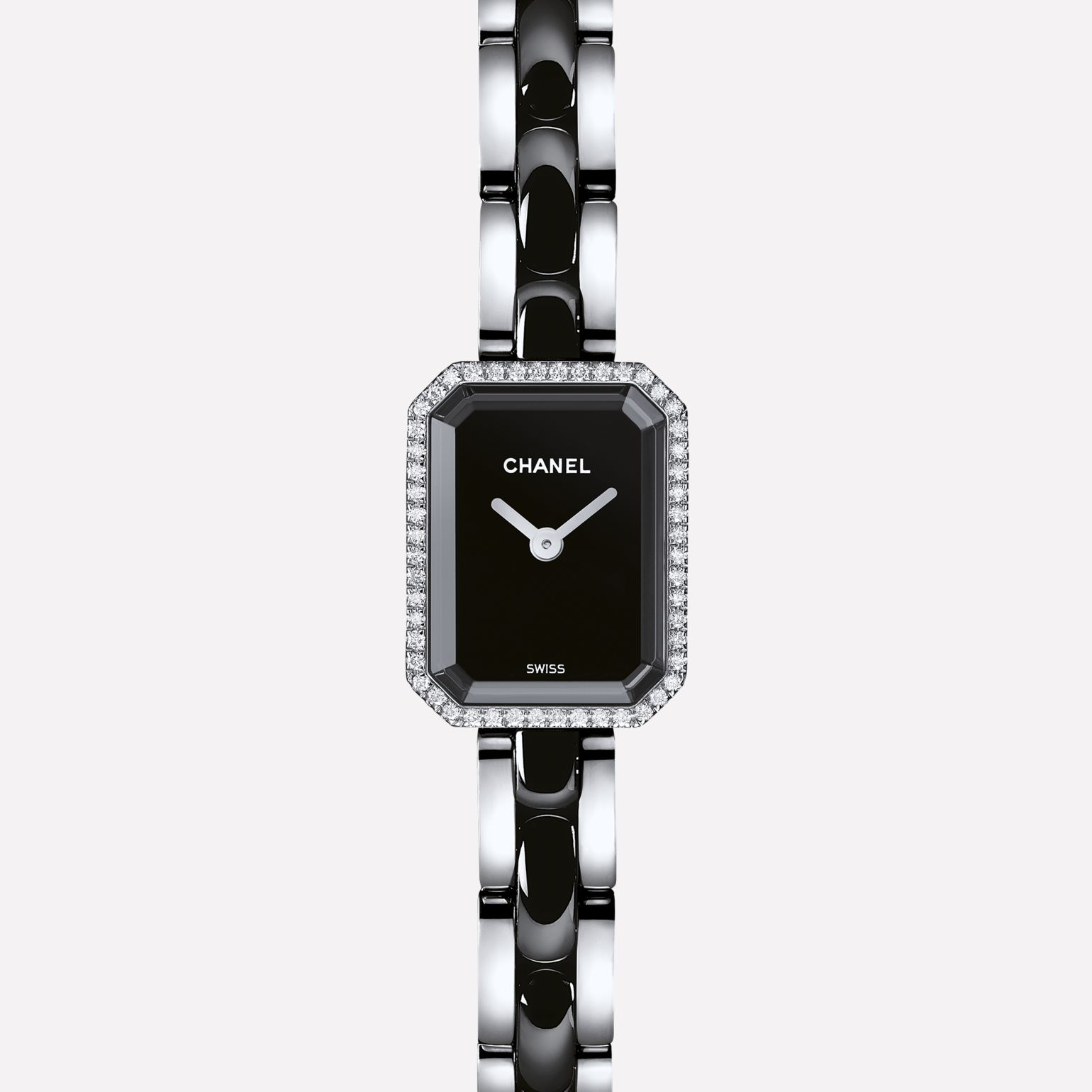 Première Mini Steel and black highly resistant ceramic, diamonds, black lacquer dial