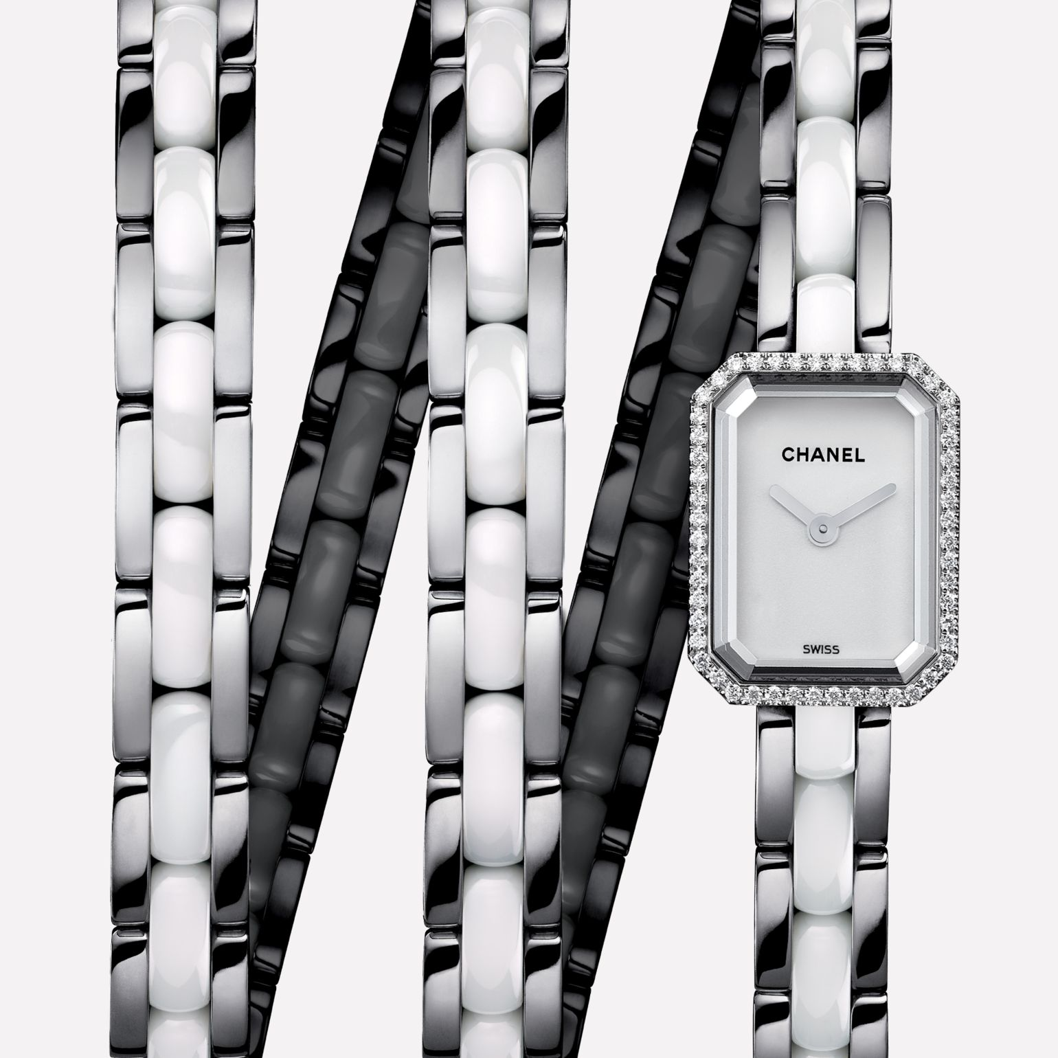 Première Mini Triple row in steel and white ceramic, diamonds, white dial