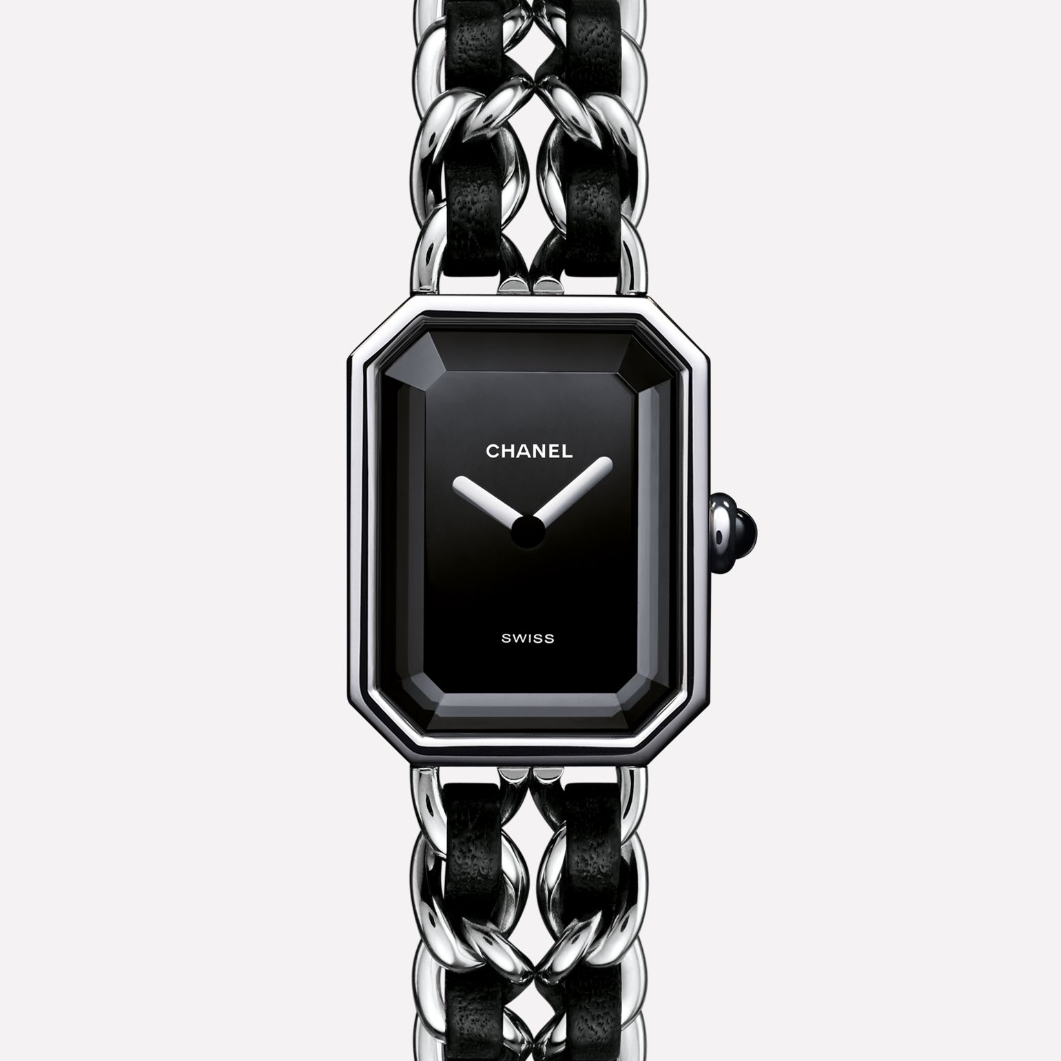 Première Rock Watch Steel and black leather, black dial