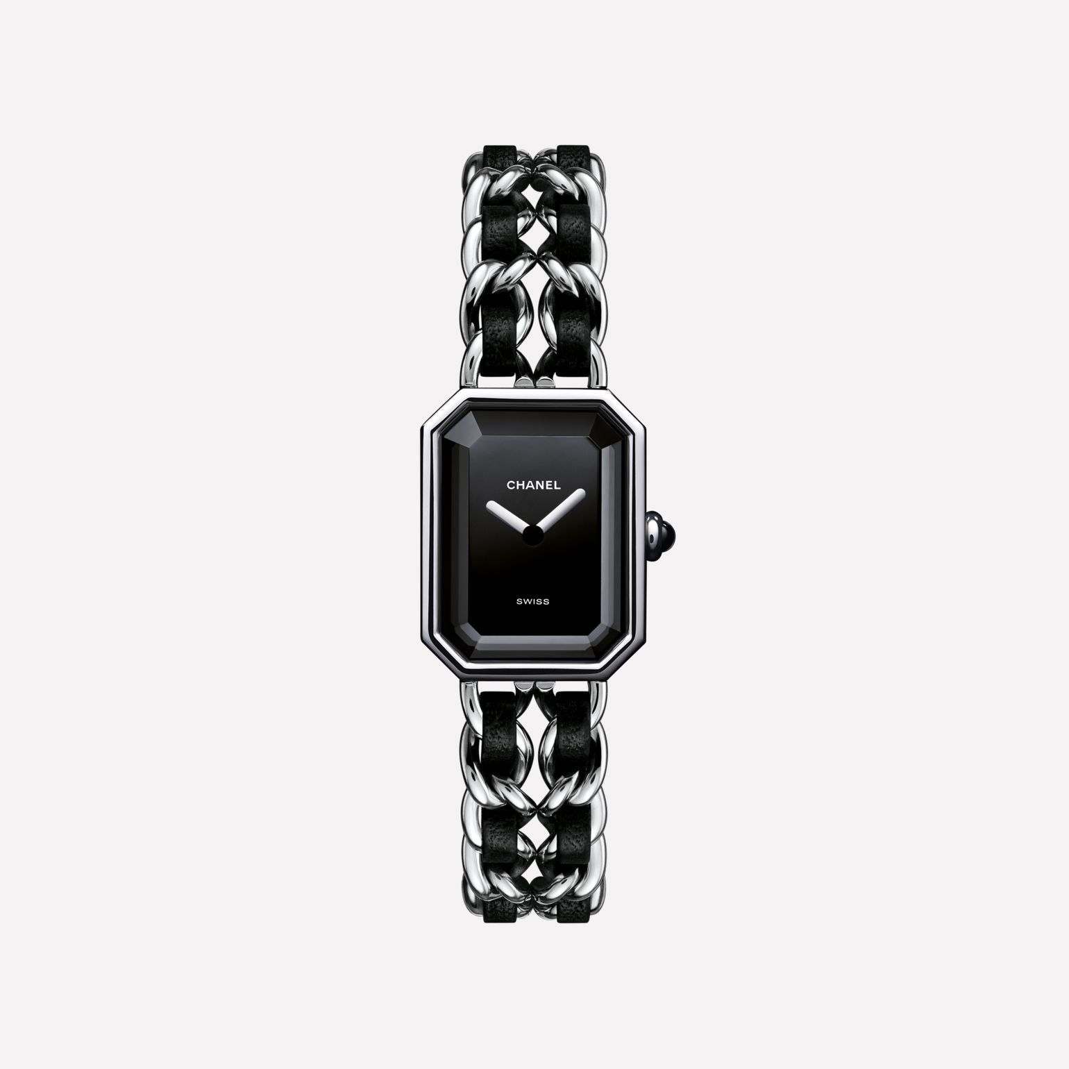 Première Rock Watch Steel and black leather, black-lacquered dial
