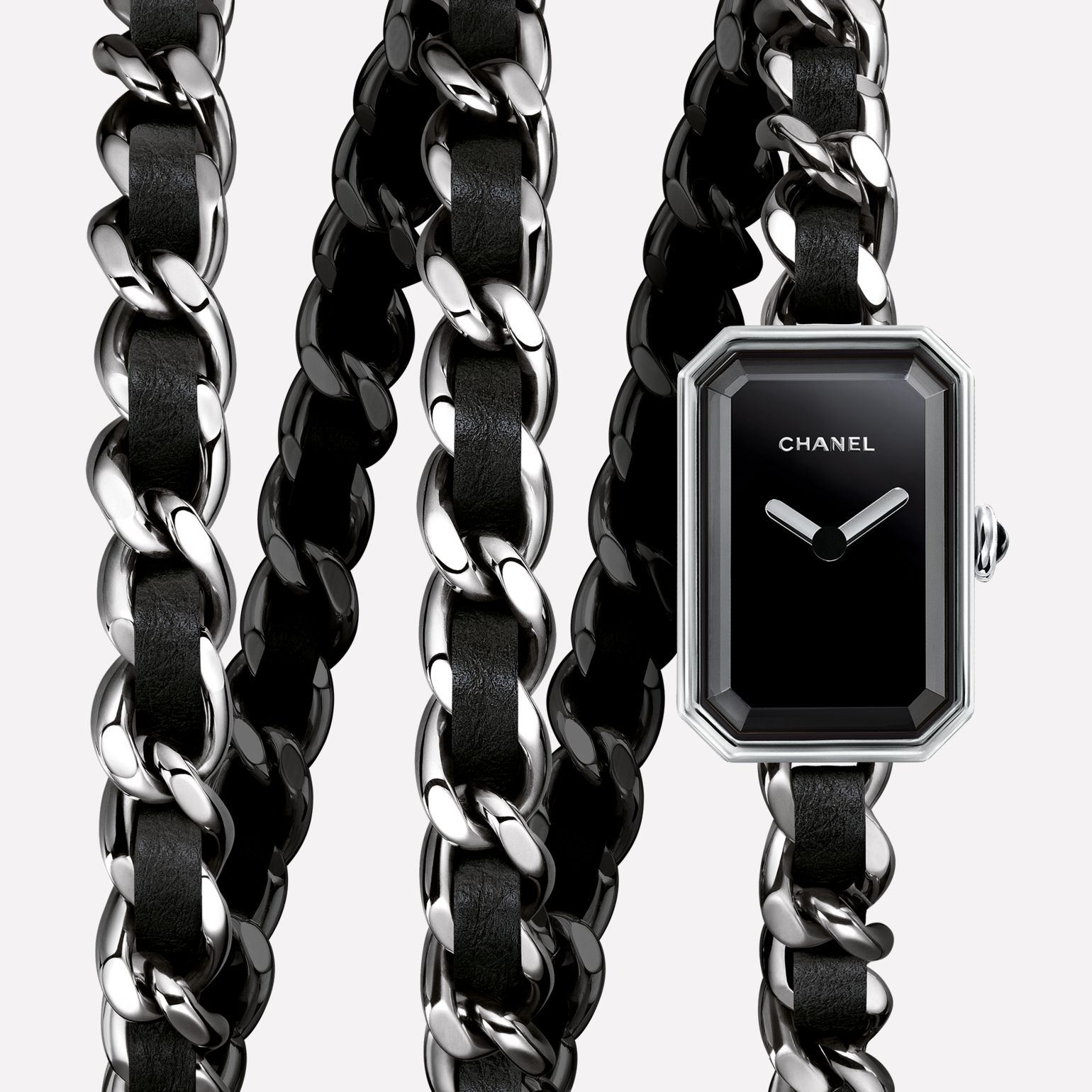 Première Rock Watch Steel and black leather triple row bracelet, black-lacquered dial