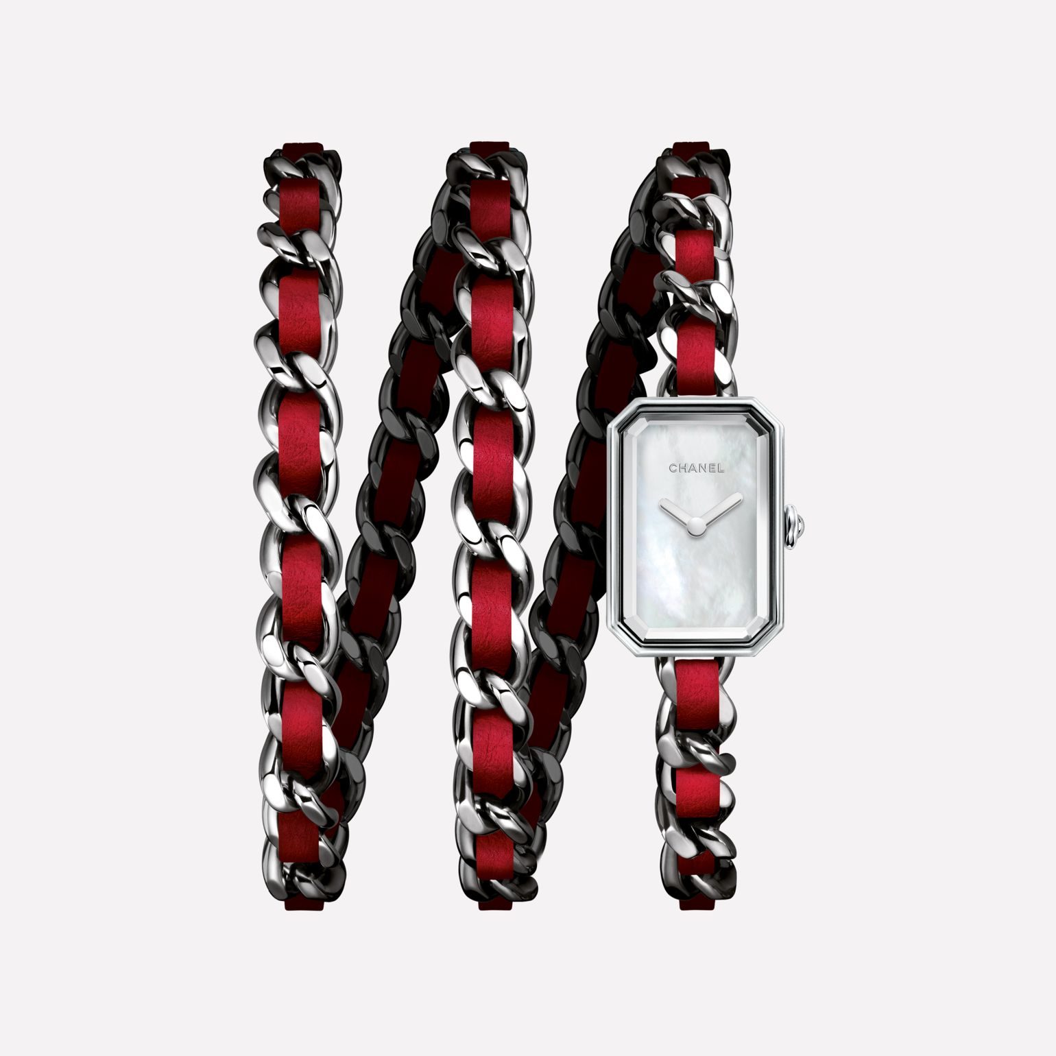 Première Rock Watch Steel and red leather triple row bracelet, white mother-of-pearl dial