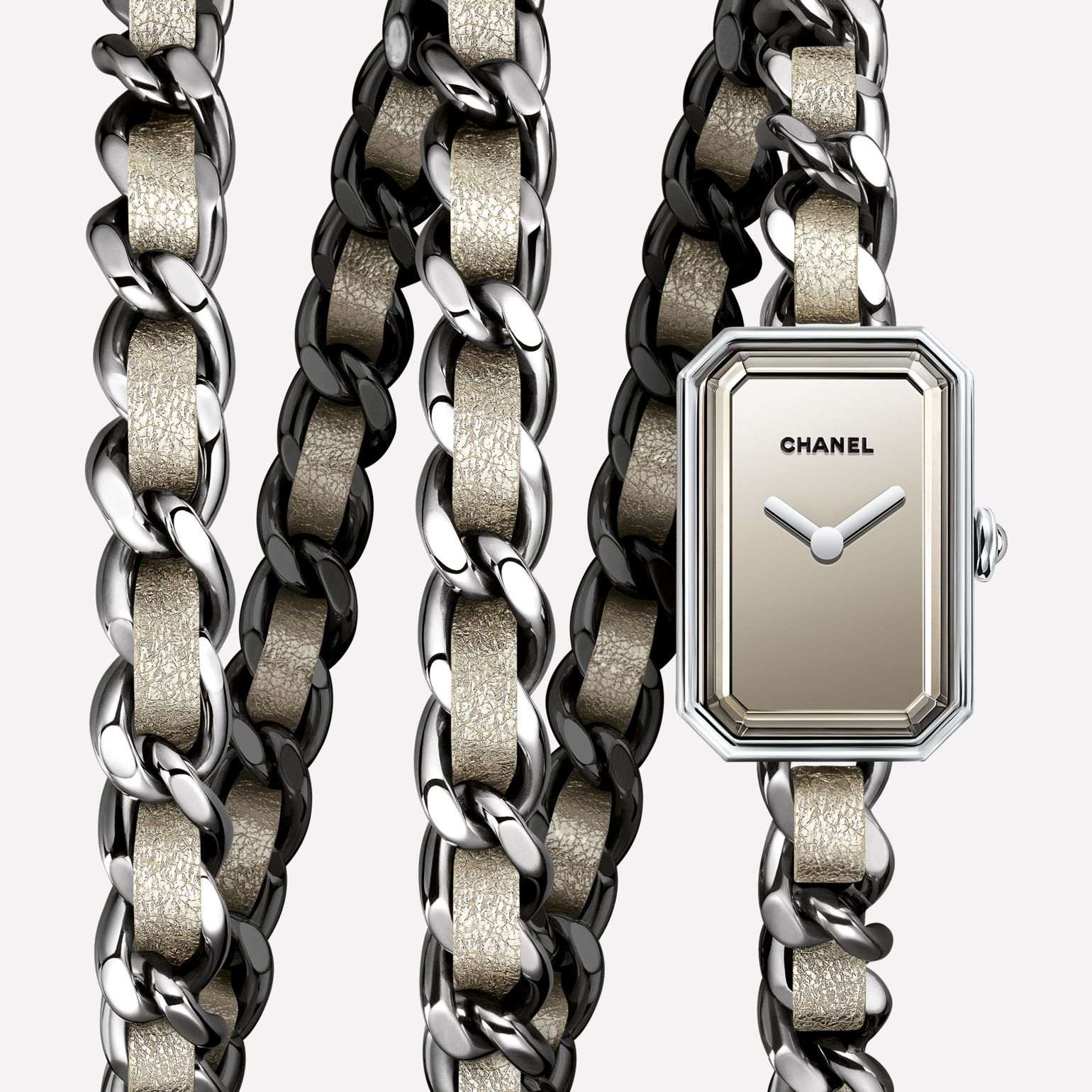 Première Rock Watch Steel and golden fabric triple row bracelet, mirrored dial