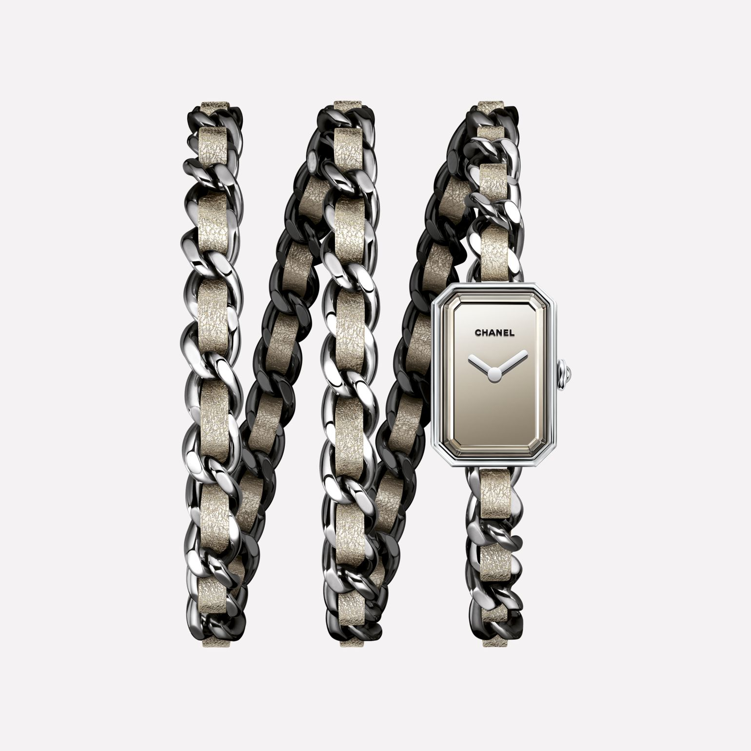 Première Rock Watch Steel and golden fabric triple row bracelet, mirror dial