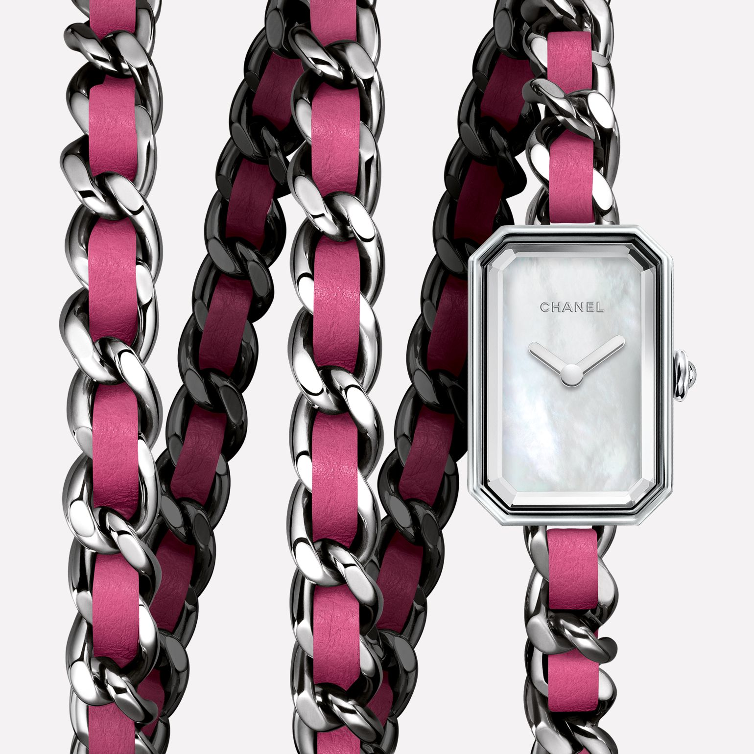 Première Rock Triple row in steel and pink leather, white mother-of-pearl dial