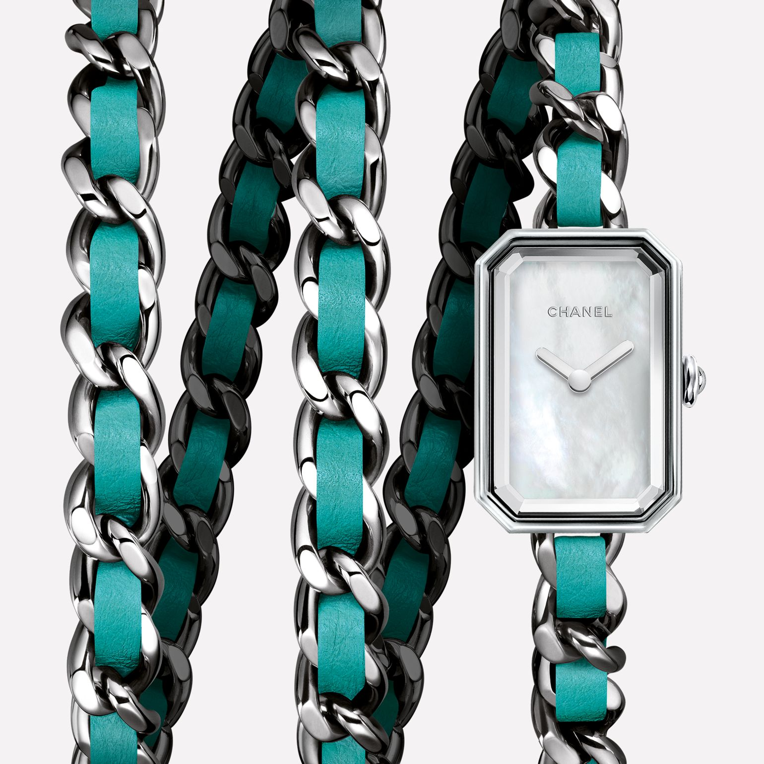 Première Rock Triple row in steel and turquoise leather, white mother-of-pearl dial