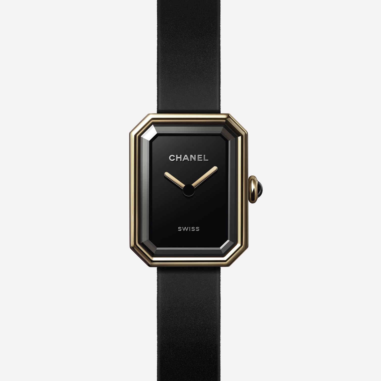 Première Velours Watch Yellow gold and titanium, black rubber strap with velvet touch, black-lacquered dial