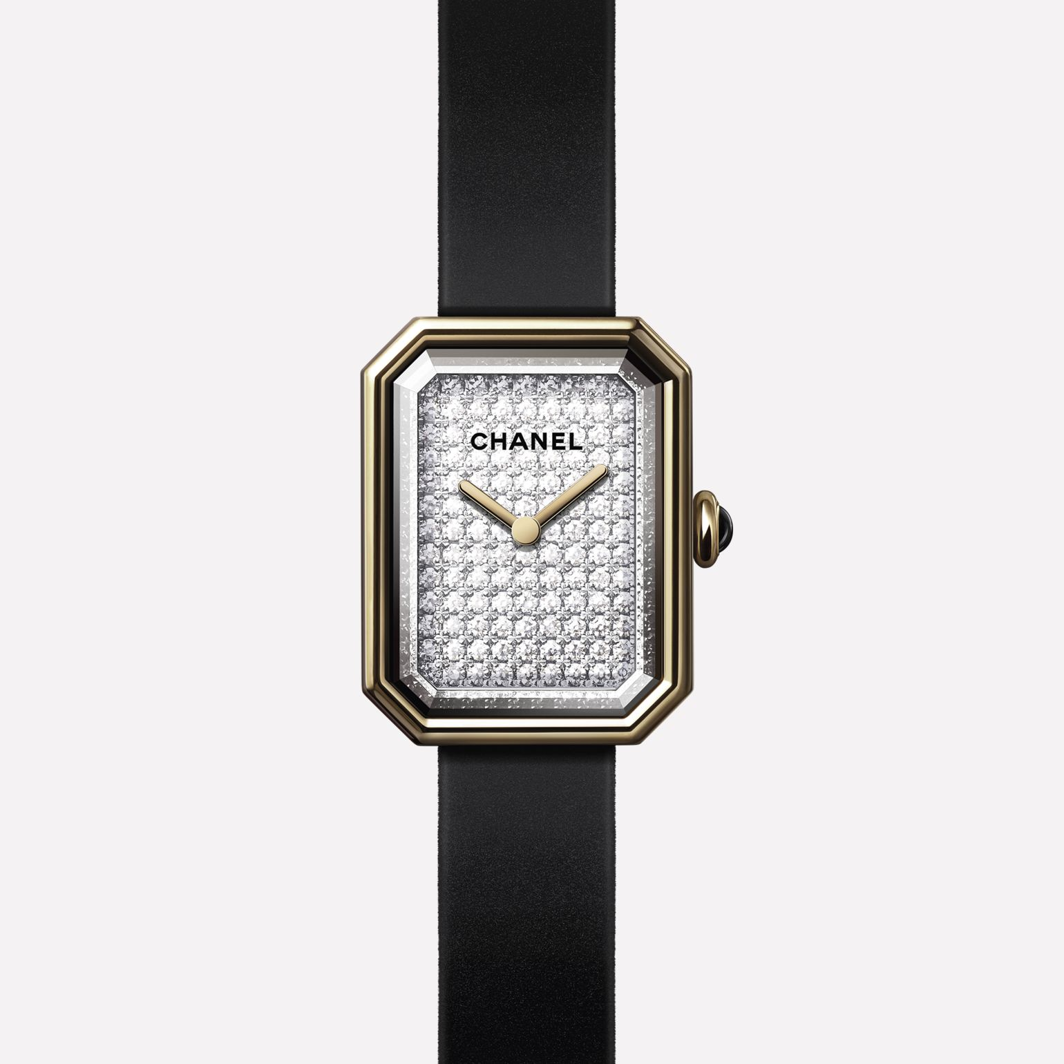 Première Velours Watch Yellow gold and titanium, black rubber strap with velvet touch, dial set with brilliant-cut diamonds