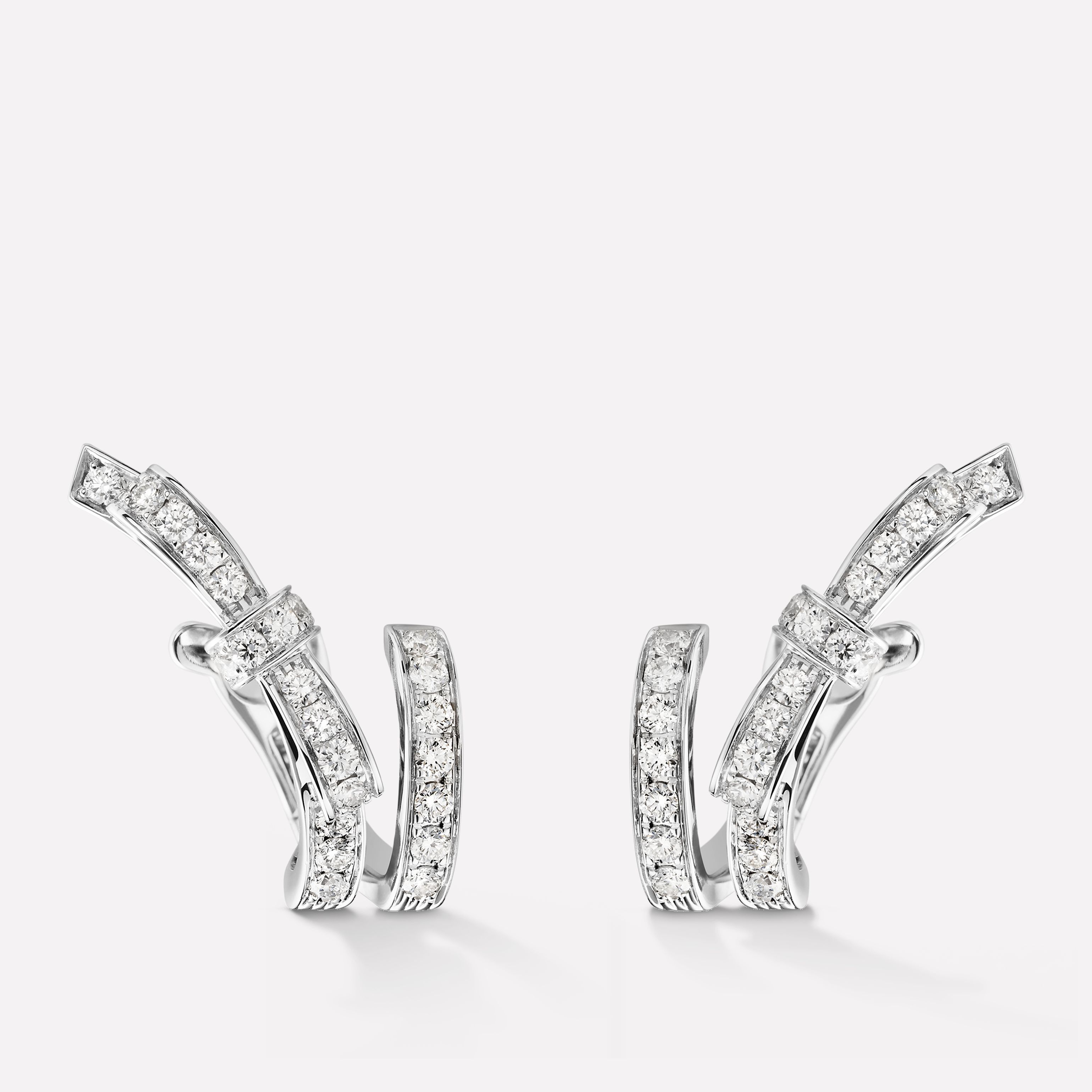ruban earrings ribbon motif in 18k white gold and. Black Bedroom Furniture Sets. Home Design Ideas