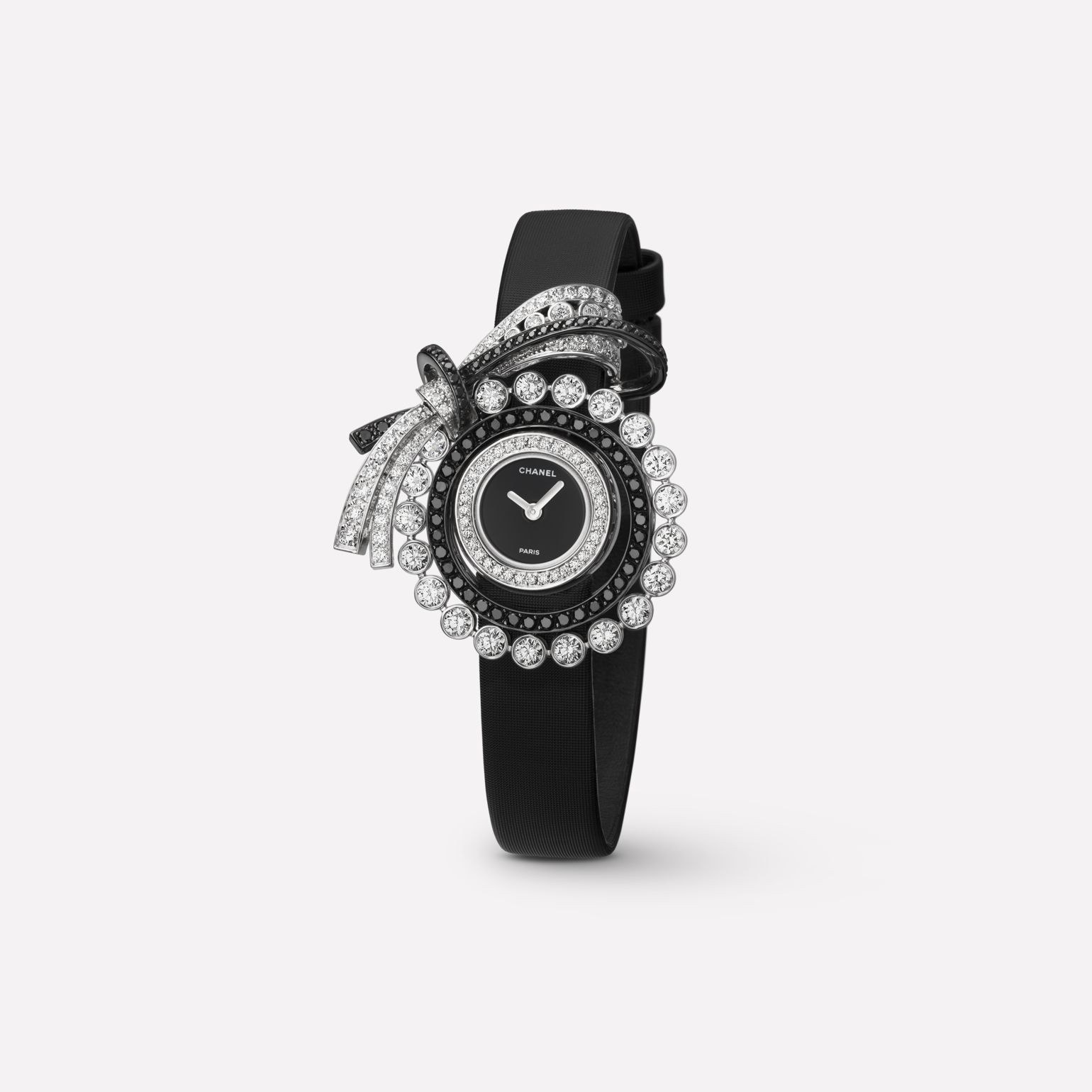 Ruban Jewelry Watch Ribbon motif in 18K white gold with white and black diamonds