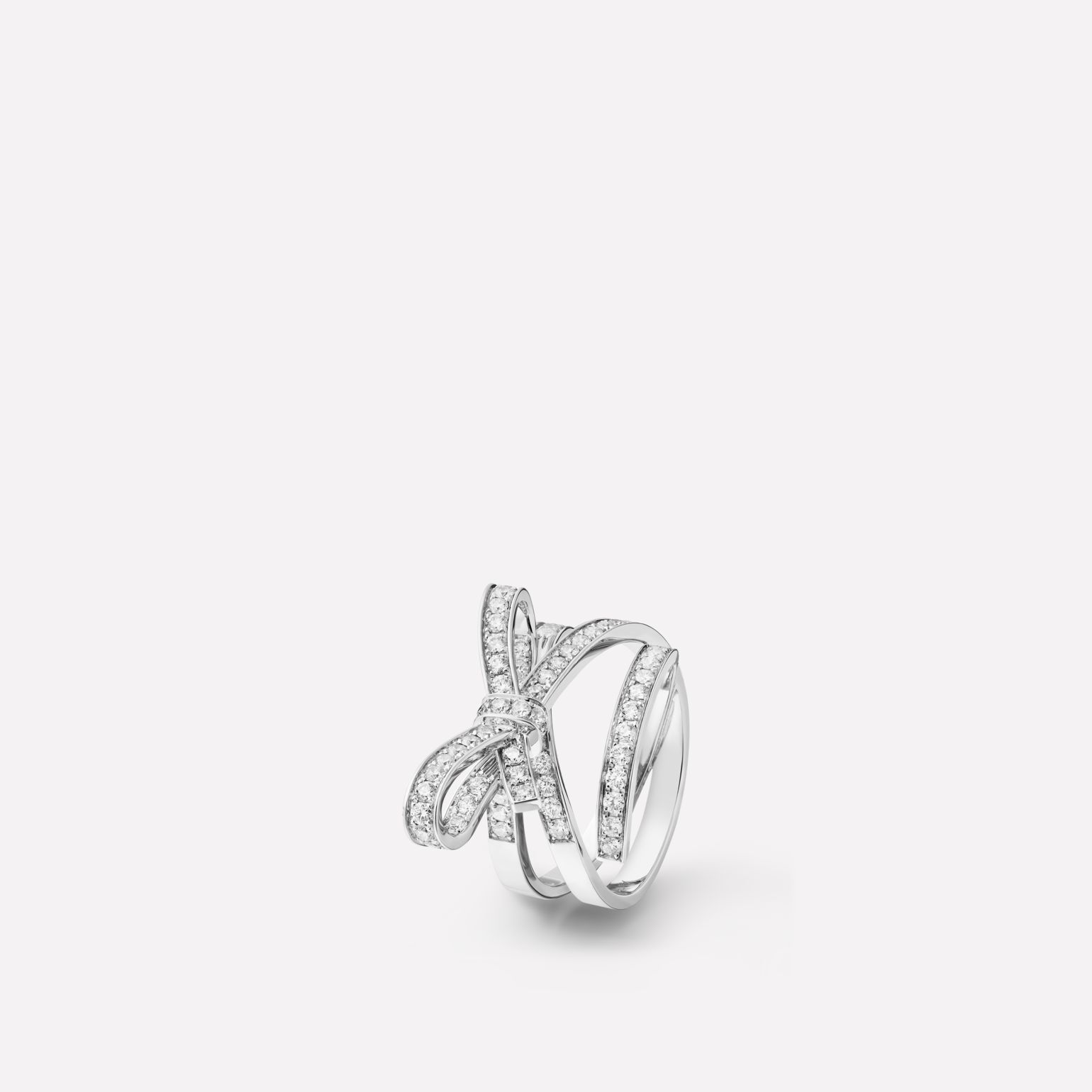 Ruban ring Ribbon motif in 18K white gold and diamonds